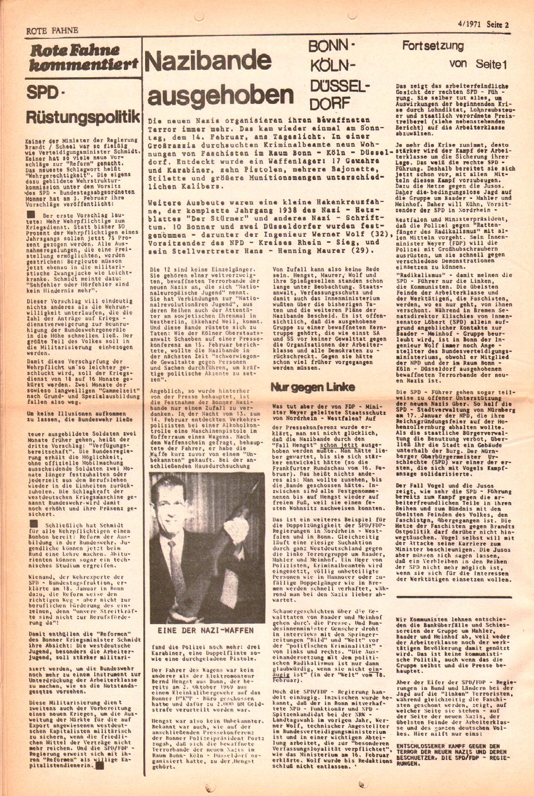 Rote Fahne, 2. Jg., 1.3.1971, Nr. 4, Seite 2