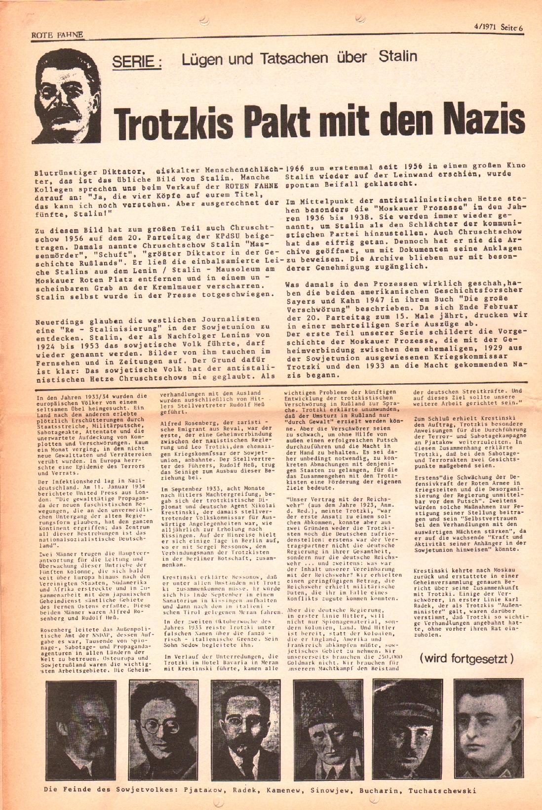 Rote Fahne, 2. Jg., 1.3.1971, Nr. 4, Seite 6