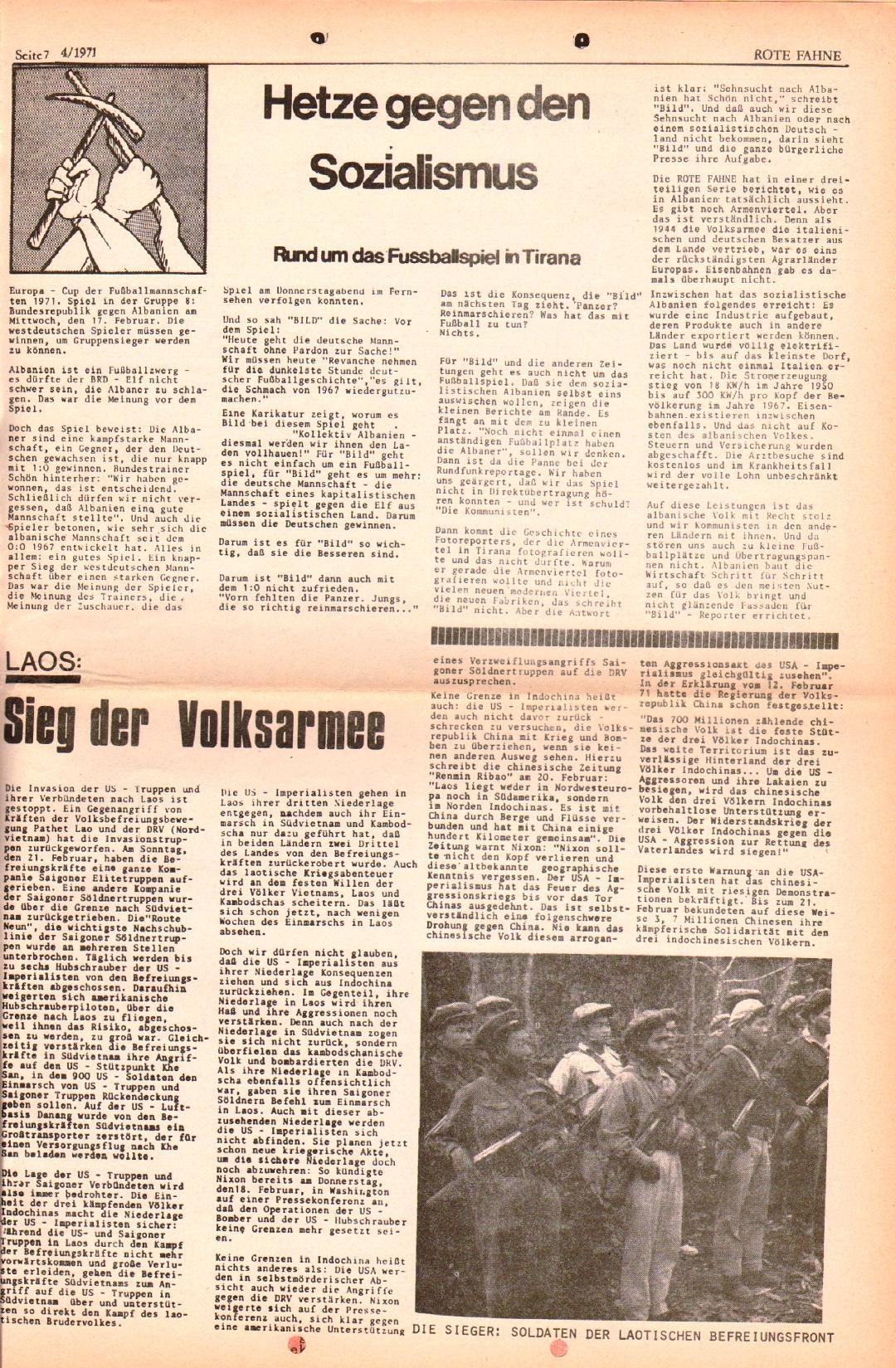 Rote Fahne, 2. Jg., 1.3.1971, Nr. 4, Seite 7