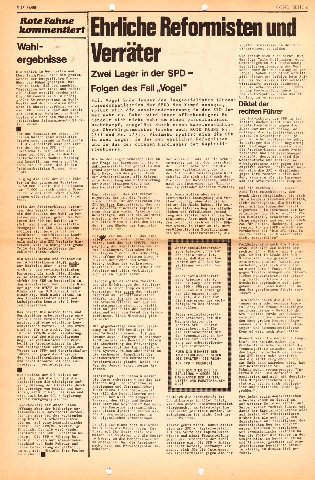 Rote Fahne, 2. Jg., 29.3.1971, Nr. 6, Seite 2