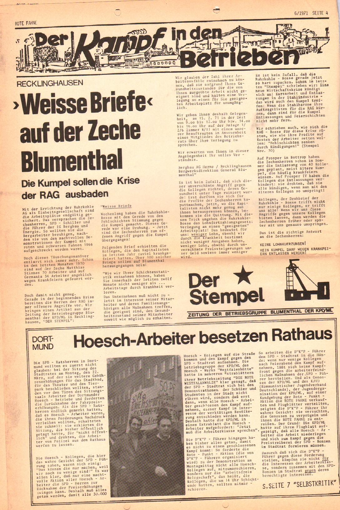 Rote Fahne, 2. Jg., 29.3.1971, Nr. 6, Seite 4