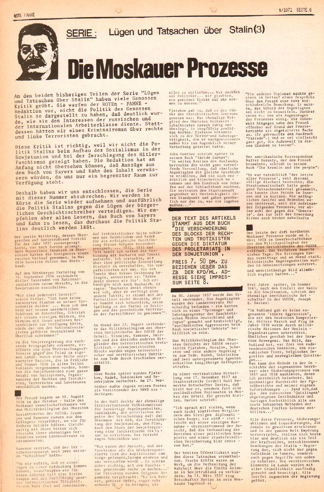 Rote Fahne, 2. Jg., 29.3.1971, Nr. 6, Seite 6