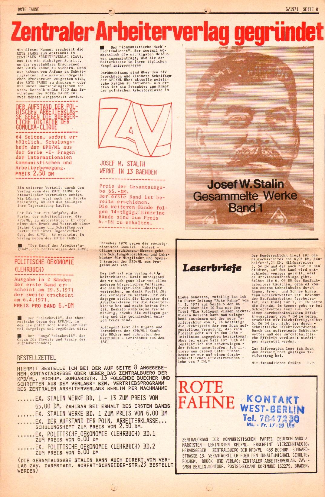 Rote Fahne, 2. Jg., 29.3.1971, Nr. 6, Seite 8