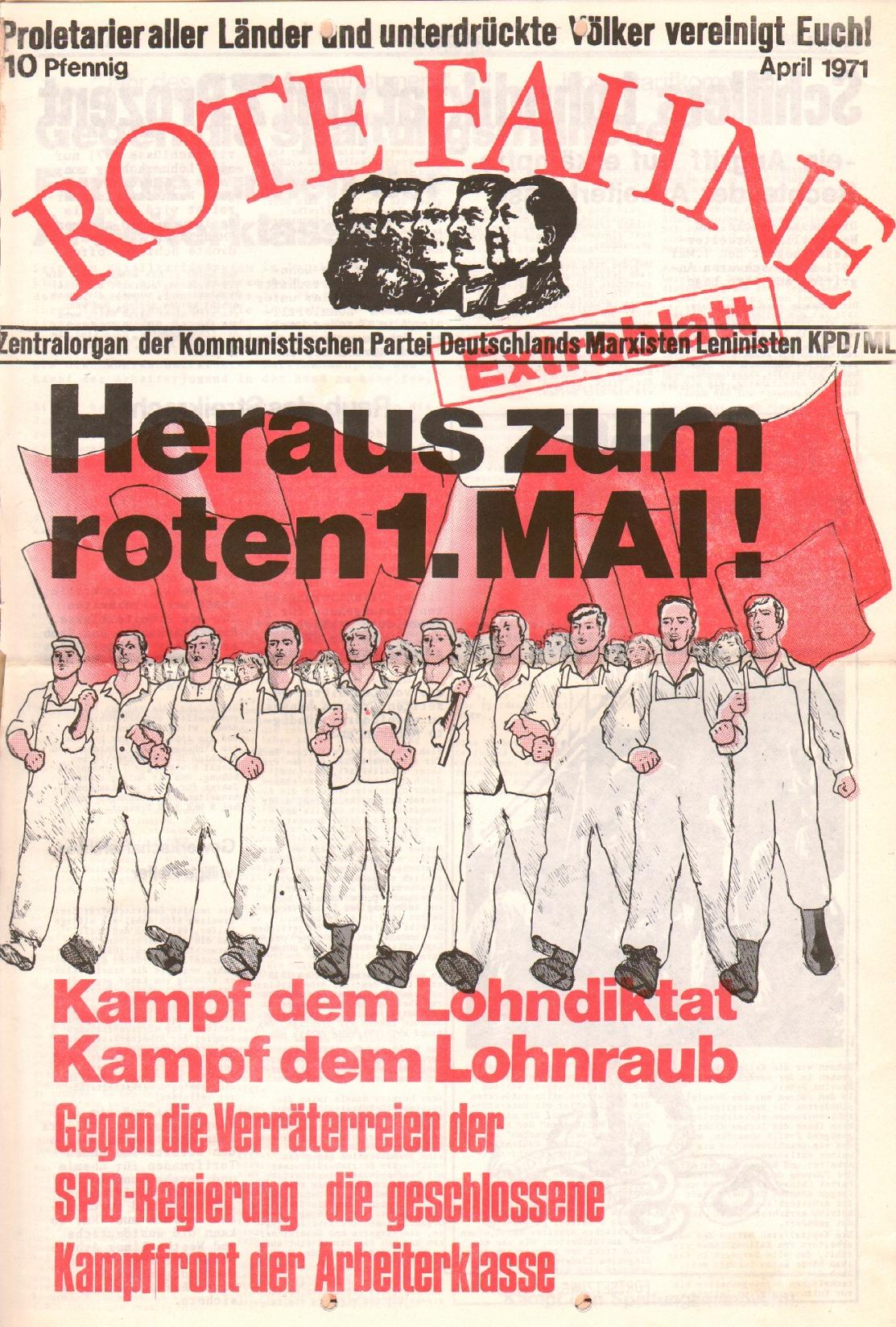Rote Fahne, 2. Jg., April 1971, Extrablatt, Seite 1