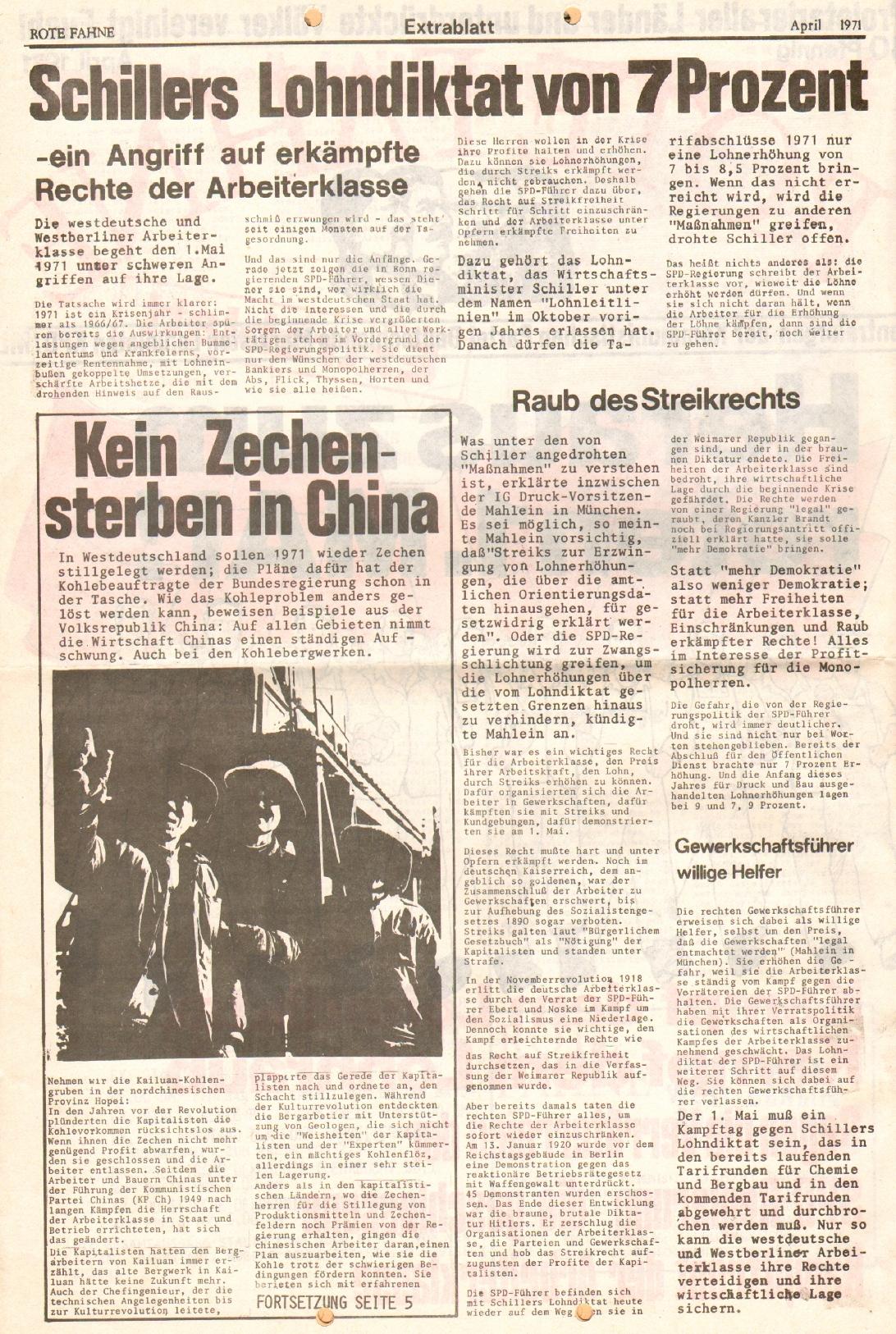 Rote Fahne, 2. Jg., April 1971, Extrablatt, Seite 2