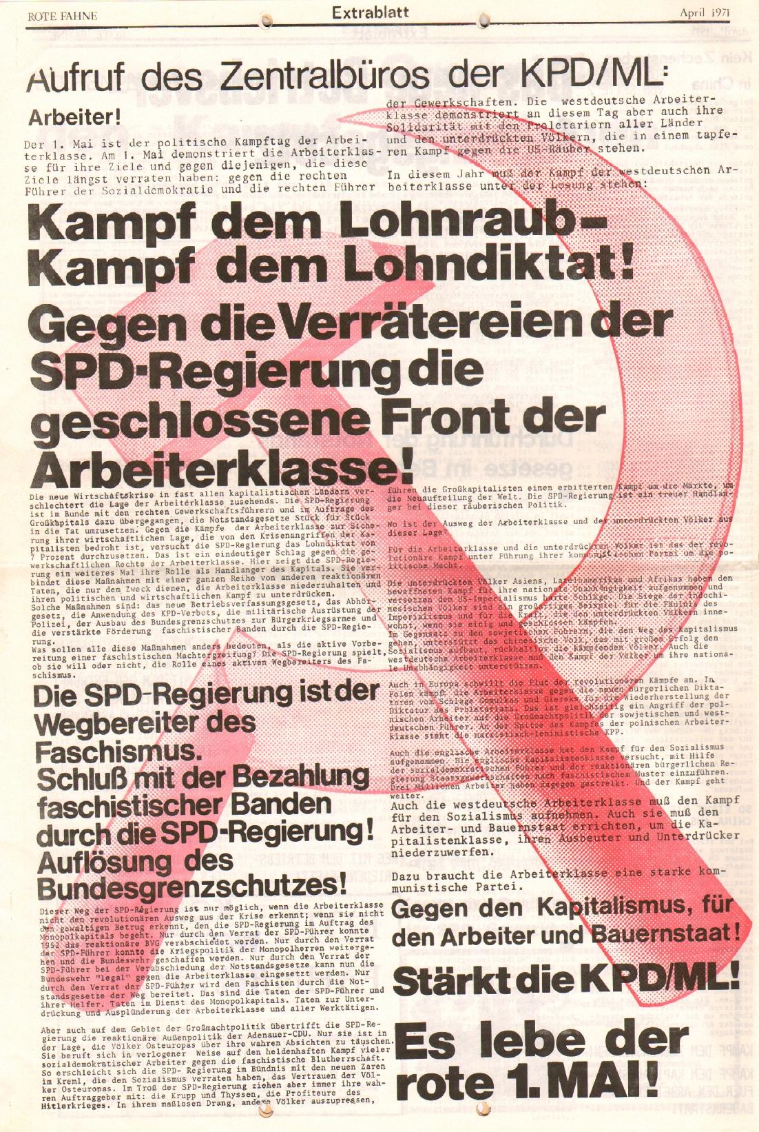 Rote Fahne, 2. Jg., April 1971, Extrablatt, Seite 6