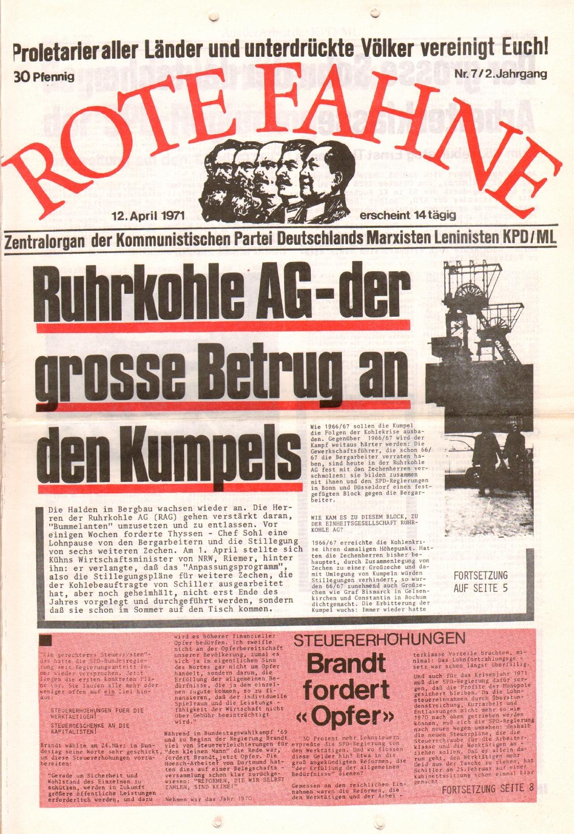 Rote Fahne, 2. Jg., 12.4.1971, Nr. 7, Seite 1