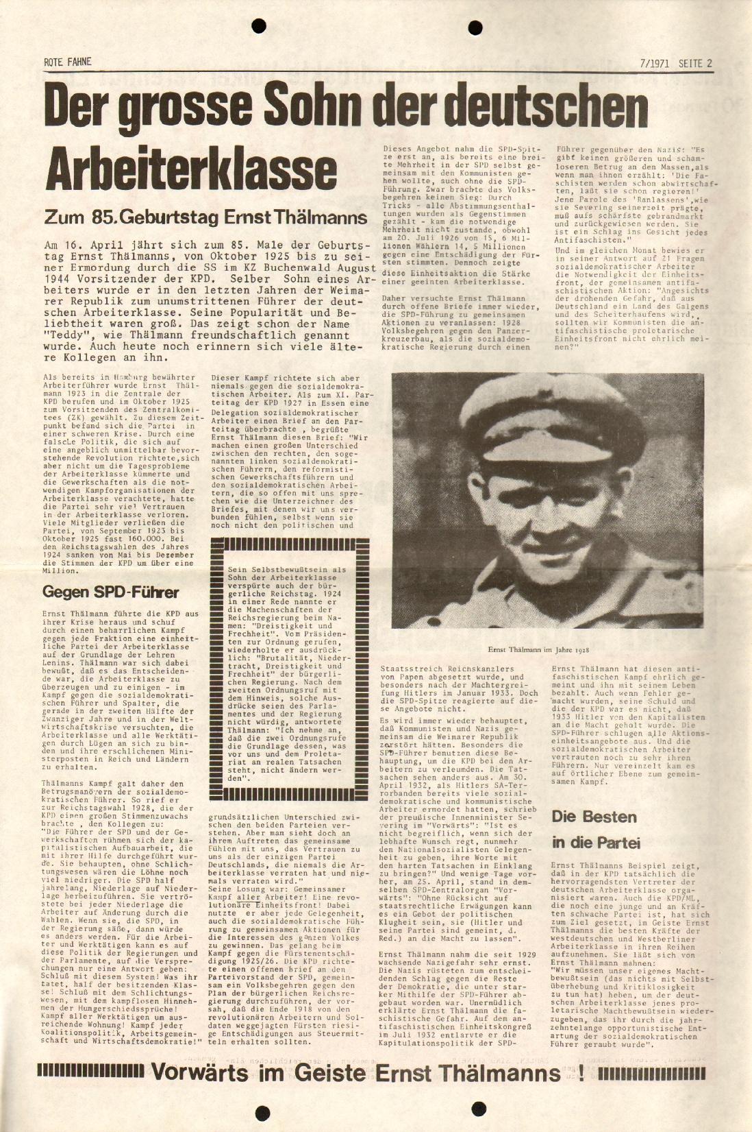 Rote Fahne, 2. Jg., 12.4.1971, Nr. 7, Seite 2