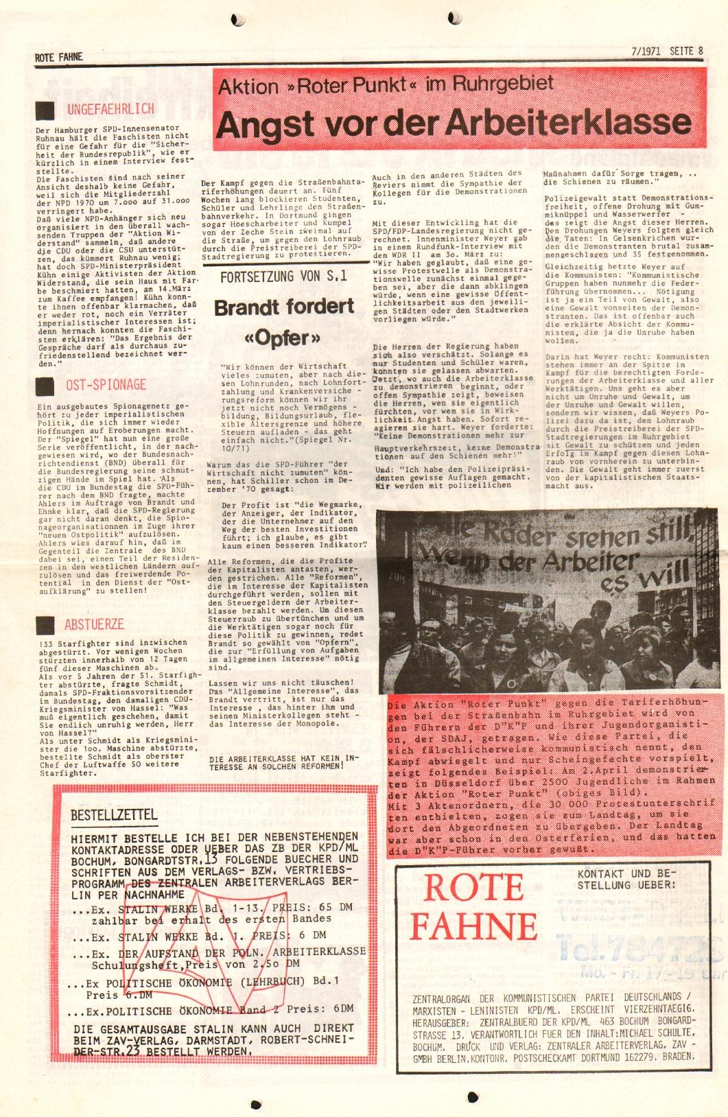 Rote Fahne, 2. Jg., 12.4.1971, Nr. 7, Seite 8