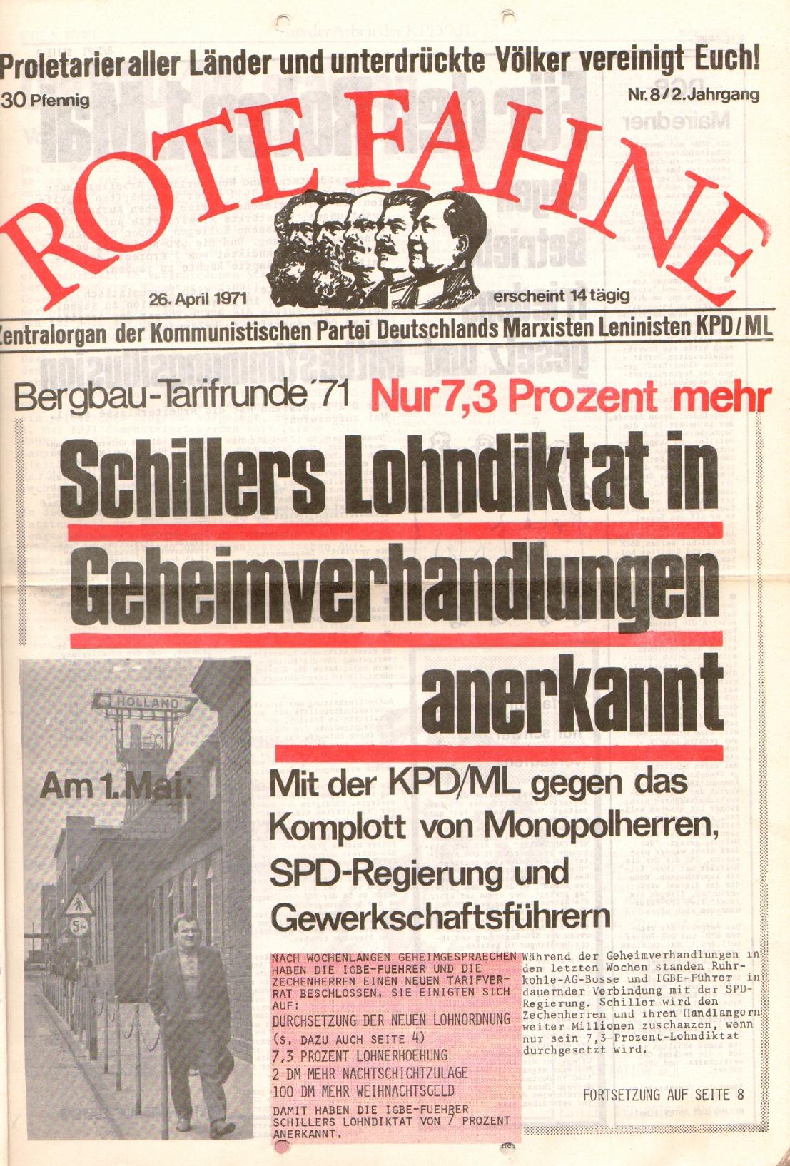 Rote Fahne, 2. Jg., 26.4.1971, Nr. 8, Seite 1