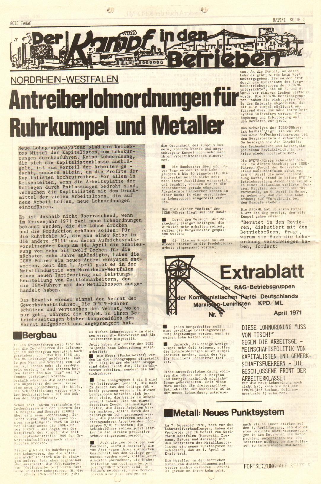 Rote Fahne, 2. Jg., 26.4.1971, Nr. 8, Seite 4