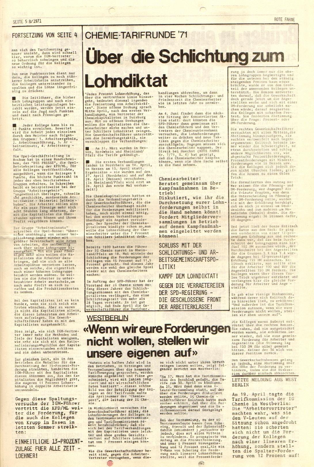 Rote Fahne, 2. Jg., 26.4.1971, Nr. 8, Seite 5