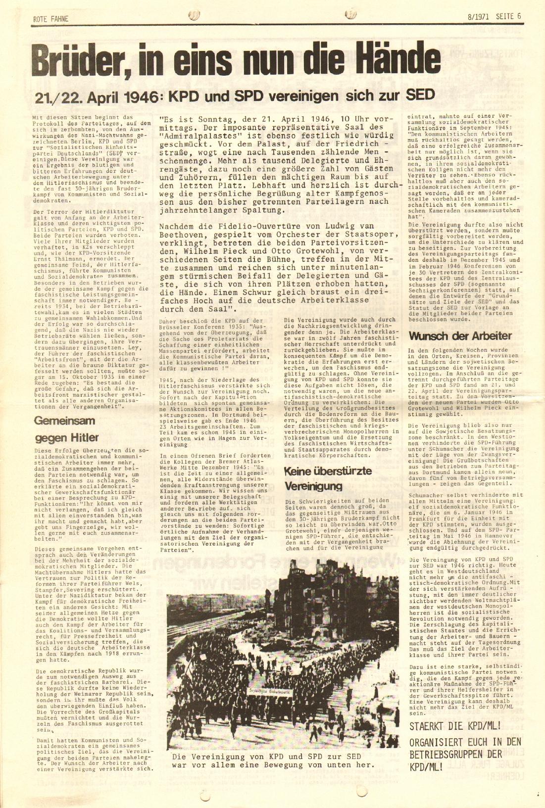 Rote Fahne, 2. Jg., 26.4.1971, Nr. 8, Seite 6