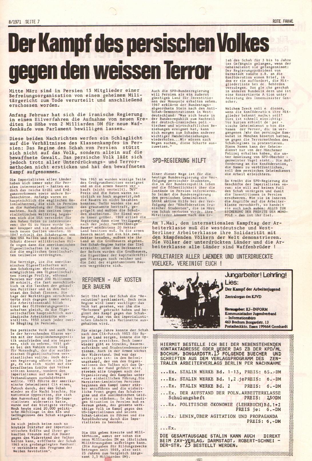 Rote Fahne, 2. Jg., 26.4.1971, Nr. 8, Seite 7