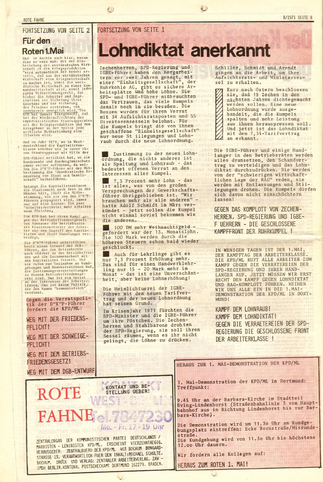 Rote Fahne, 2. Jg., 26.4.1971, Nr. 8, Seite 8