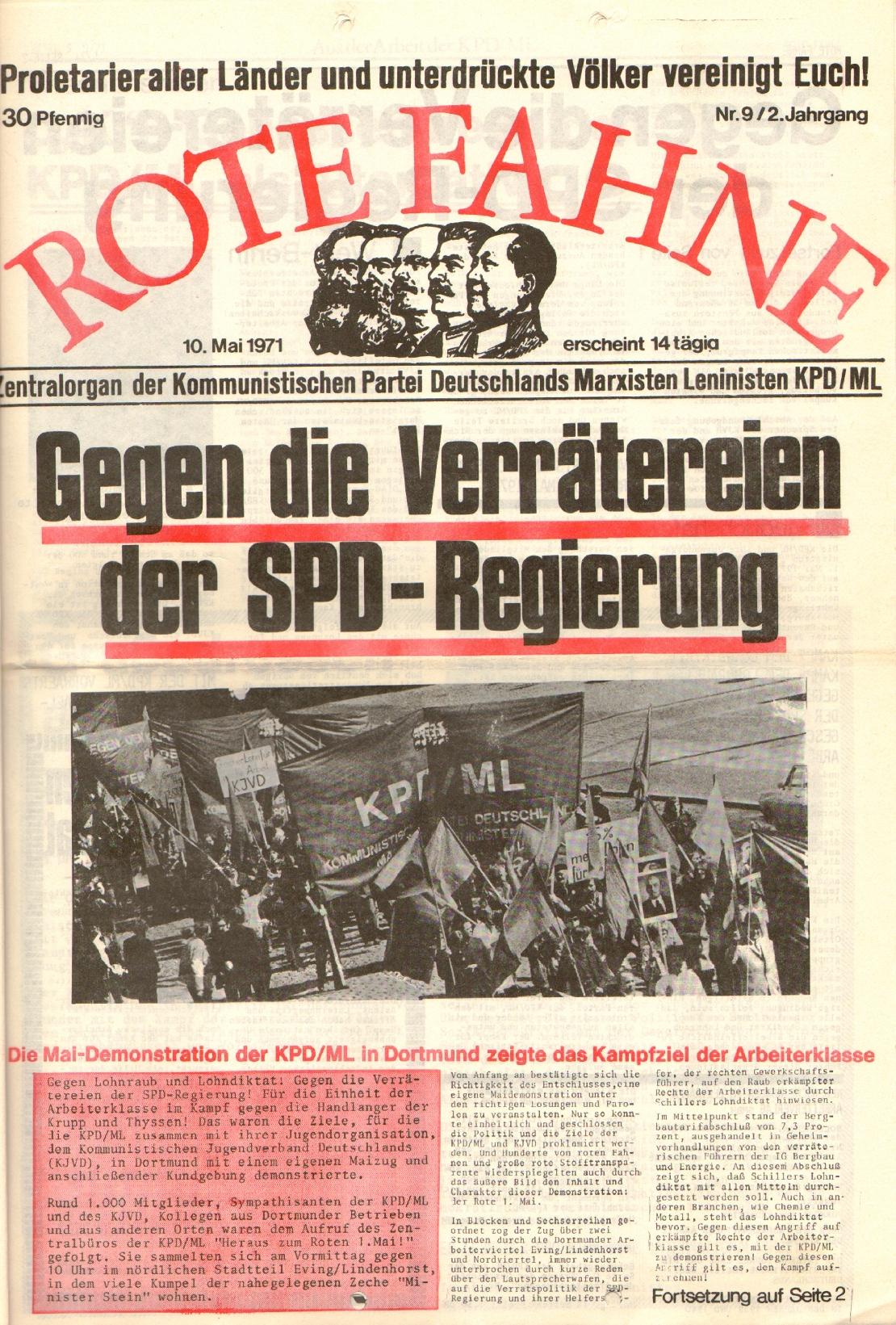Rote Fahne, 2. Jg., 10.5.1971, Nr. 9, Seite 1