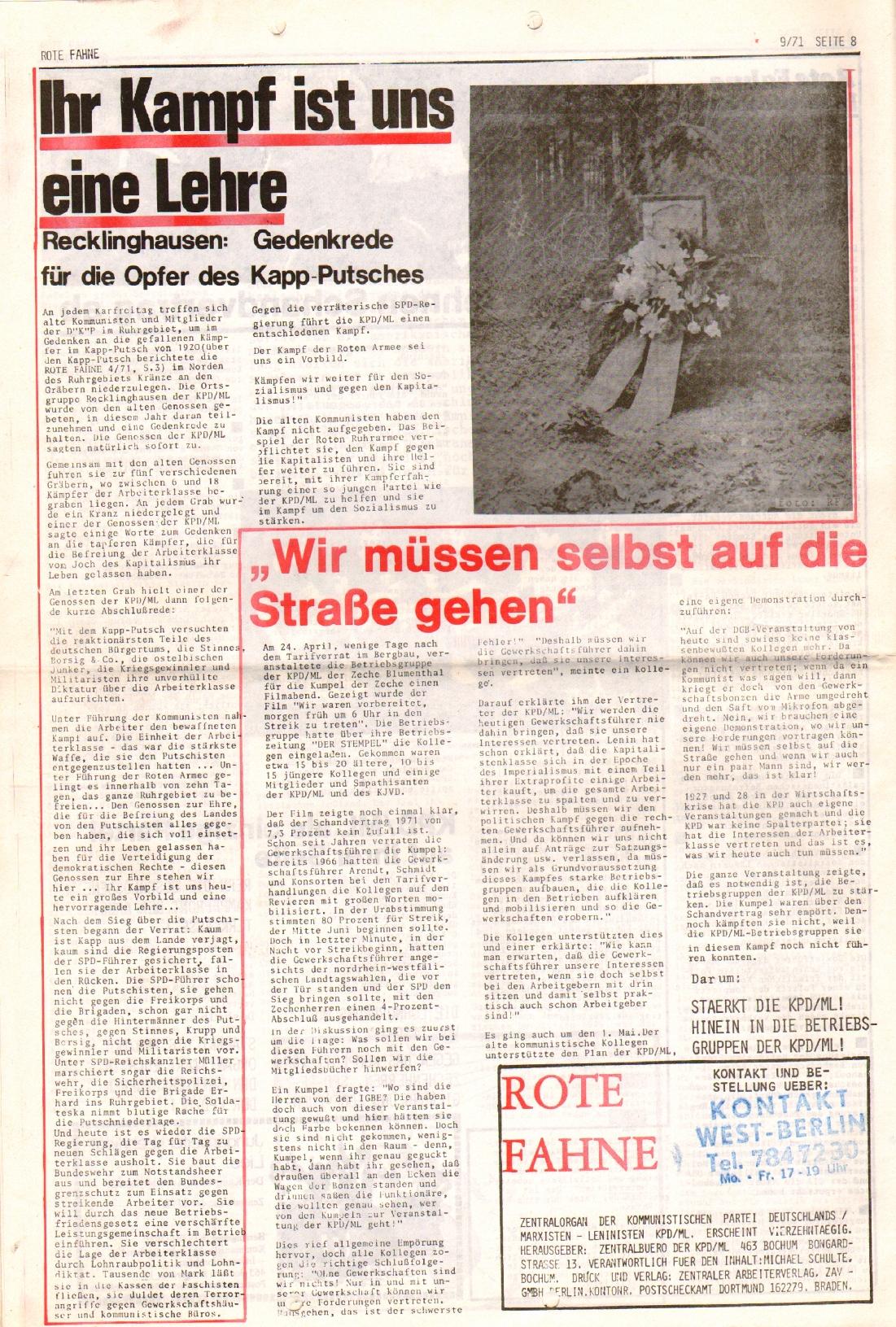 Rote Fahne, 2. Jg., 10.5.1971, Nr. 9, Seite 8