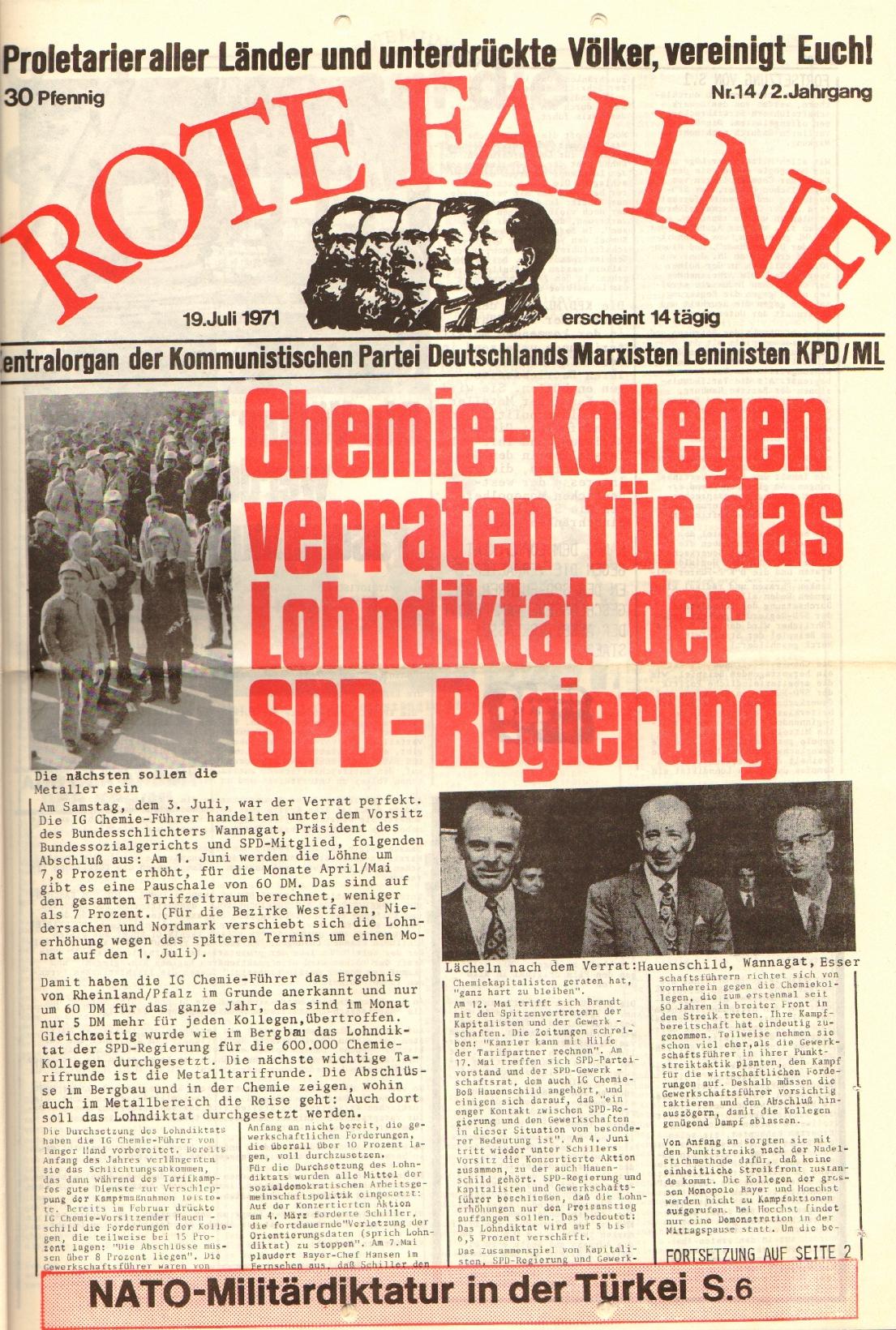 Rote Fahne, 2. Jg., 19.7.1971, Nr. 14, Seite 1