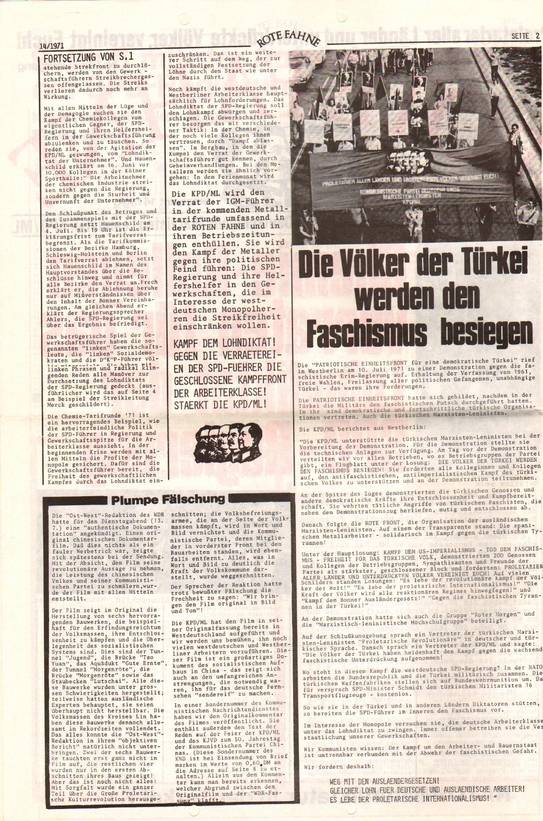 Rote Fahne, 2. Jg., 19.7.1971, Nr. 14, Seite 2