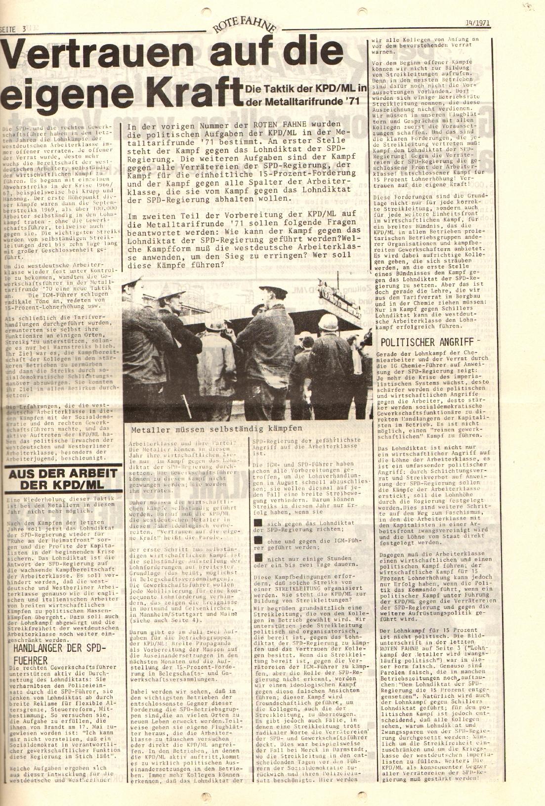 Rote Fahne, 2. Jg., 19.7.1971, Nr. 14, Seite 3