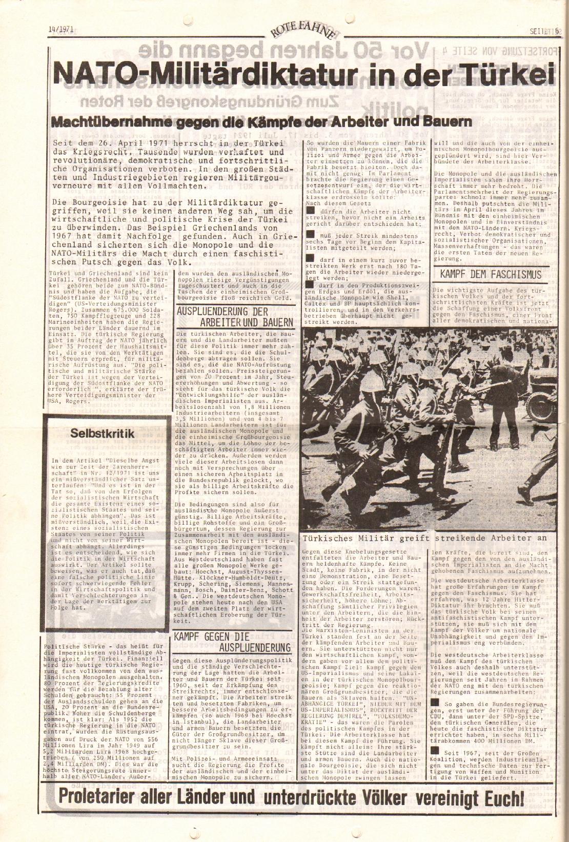 Rote Fahne, 2. Jg., 19.7.1971, Nr. 14, Seite 6