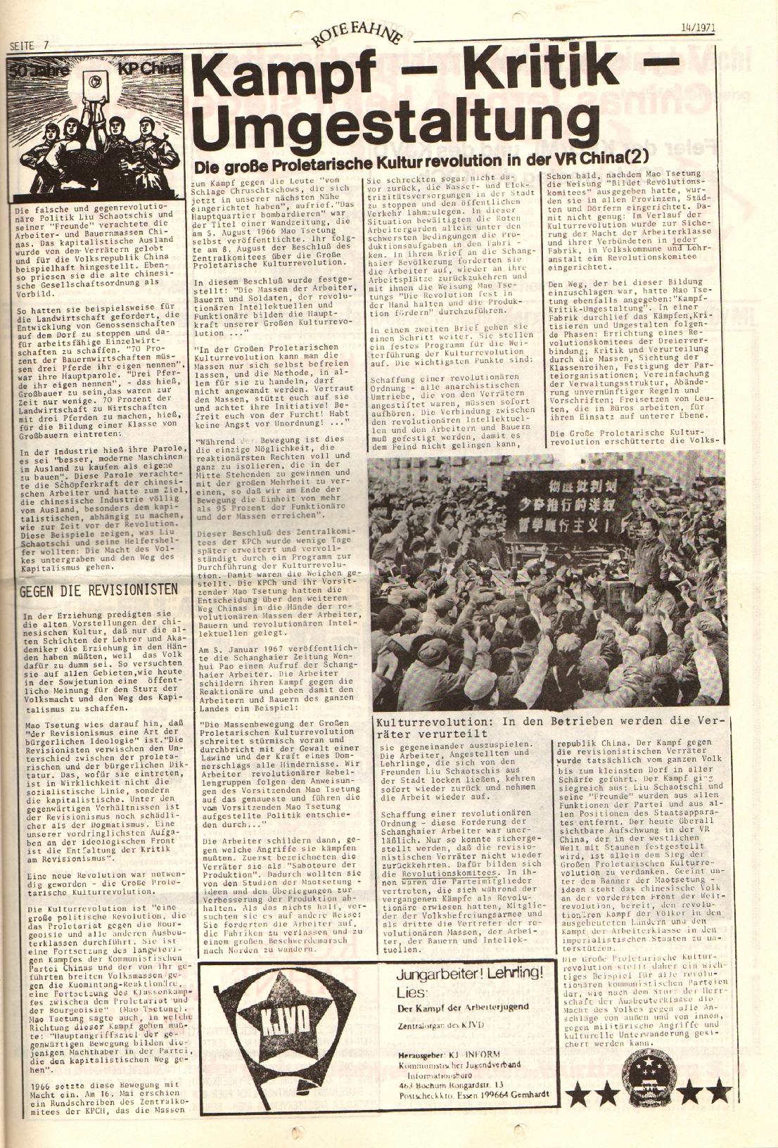 Rote Fahne, 2. Jg., 19.7.1971, Nr. 14, Seite 7