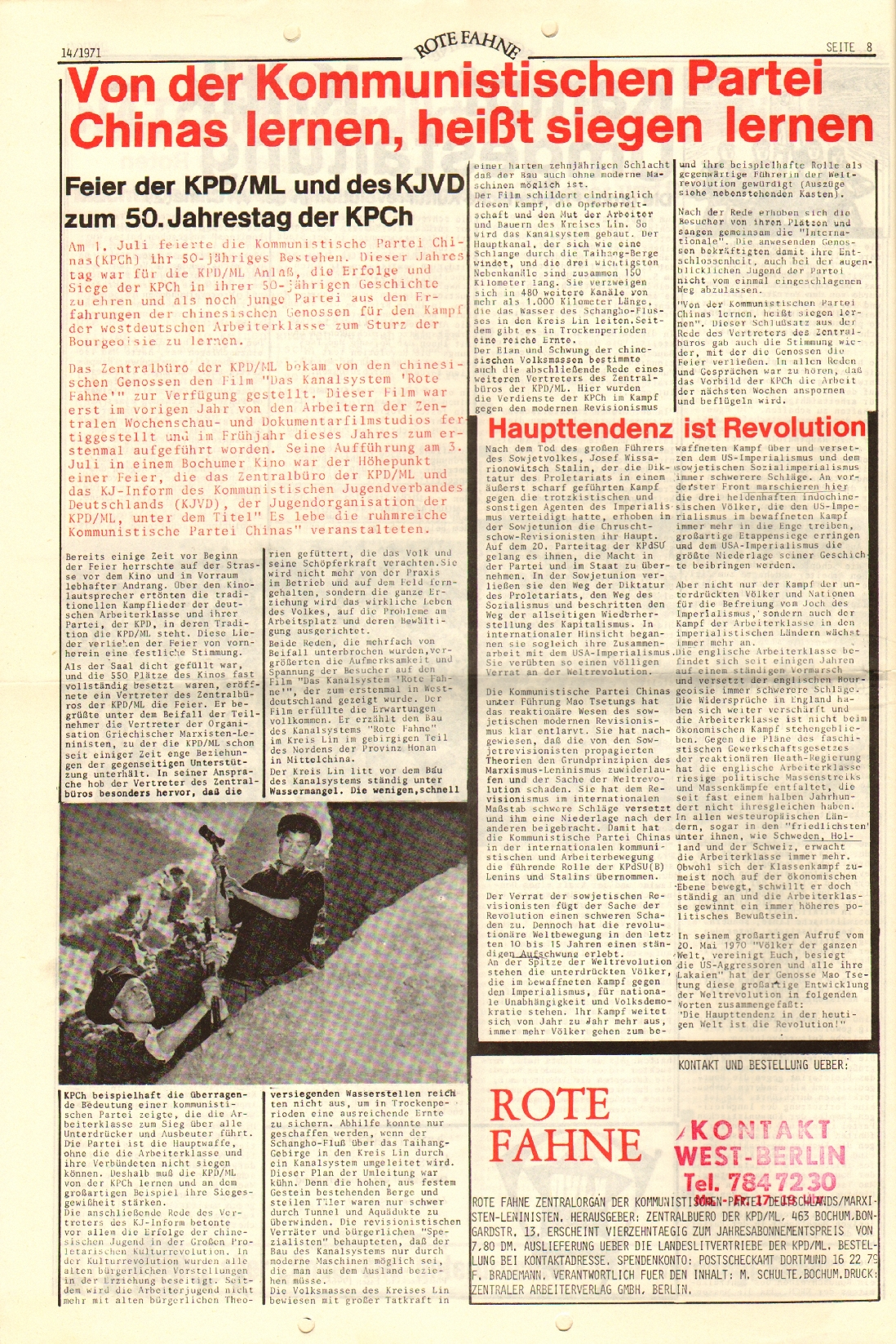 Rote Fahne, 2. Jg., 19.7.1971, Nr. 14, Seite 8