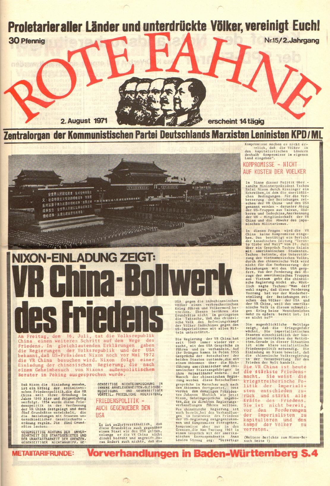 Rote Fahne, 2. Jg., 2.8.1971, Nr. 15, Seite 1