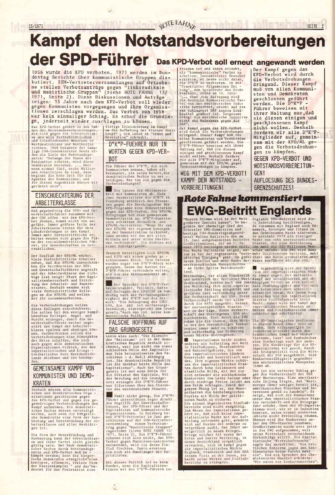 Rote Fahne, 2. Jg., 2.8.1971, Nr. 15, Seite 2