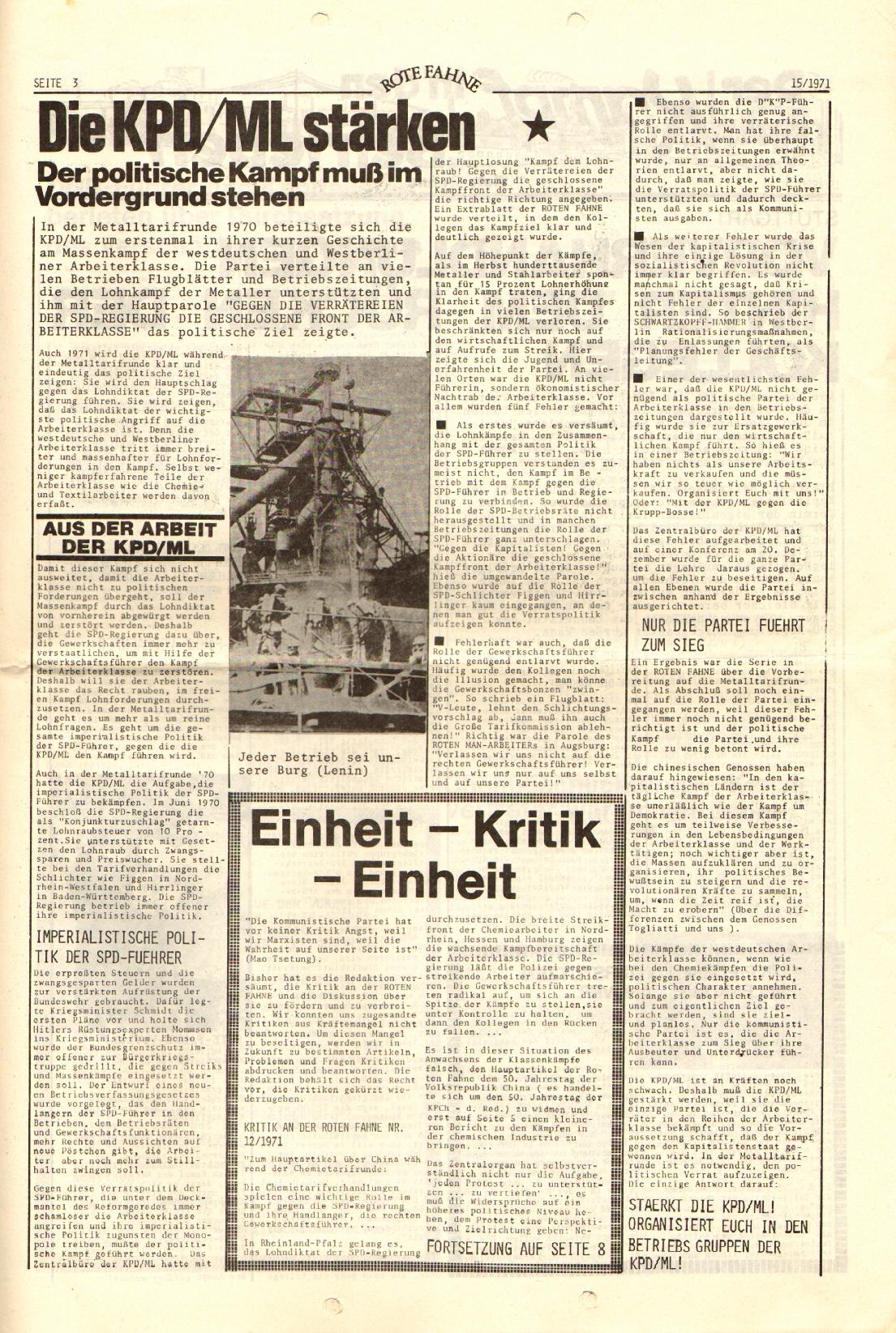 Rote Fahne, 2. Jg., 2.8.1971, Nr. 15, Seite 3