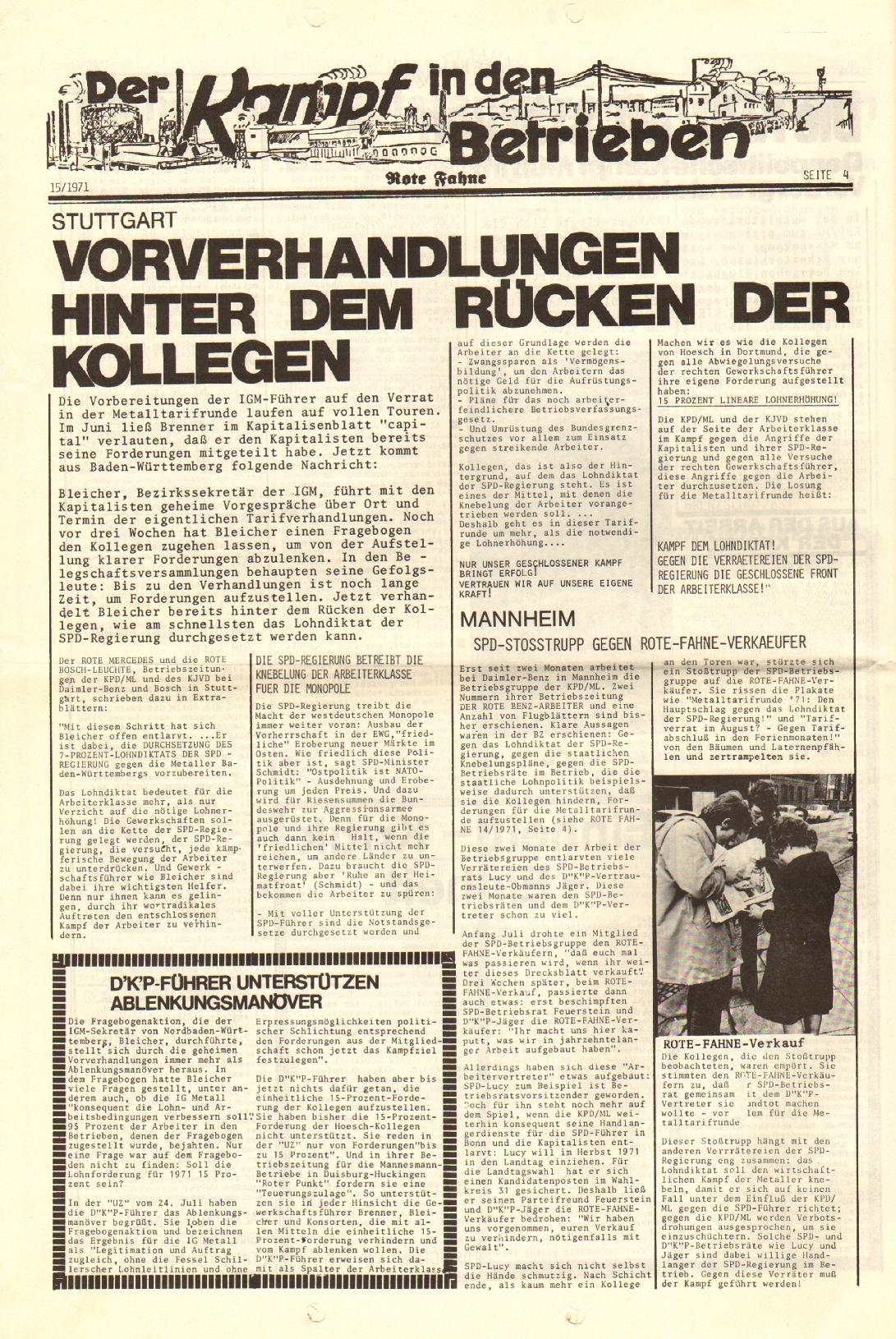 Rote Fahne, 2. Jg., 2.8.1971, Nr. 15, Seite 4