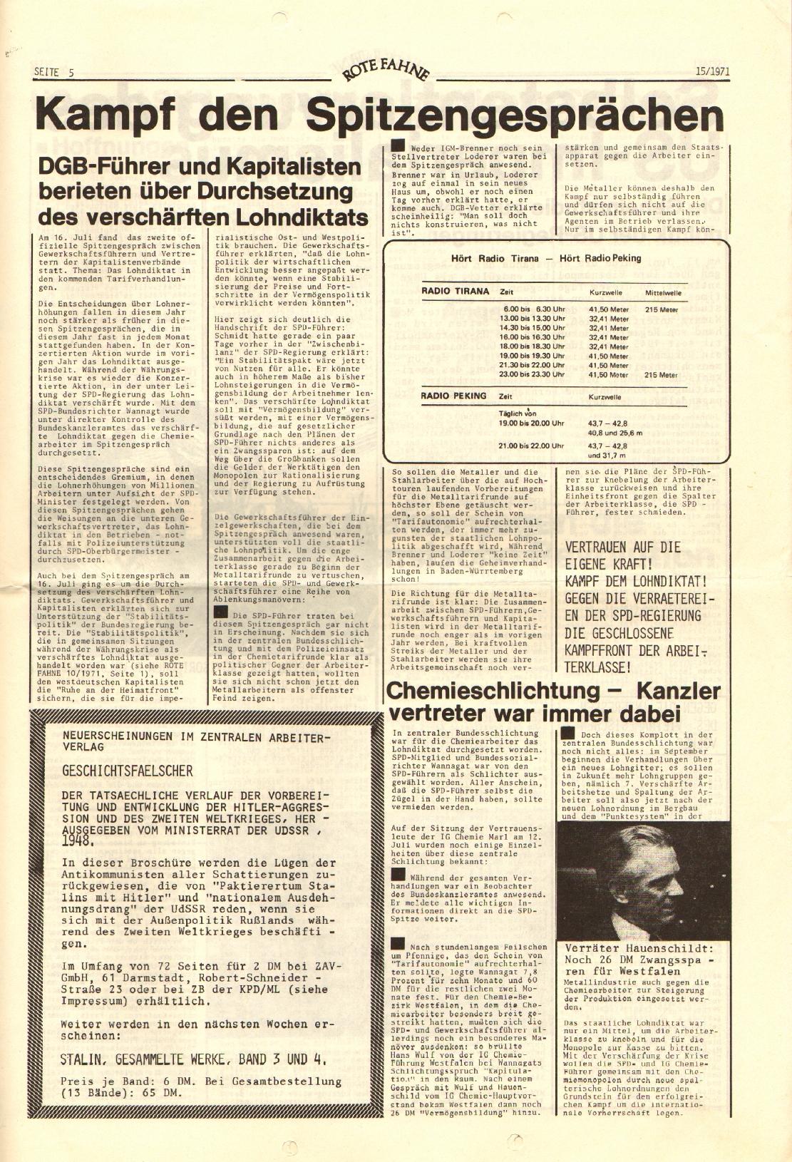 Rote Fahne, 2. Jg., 2.8.1971, Nr. 15, Seite 5