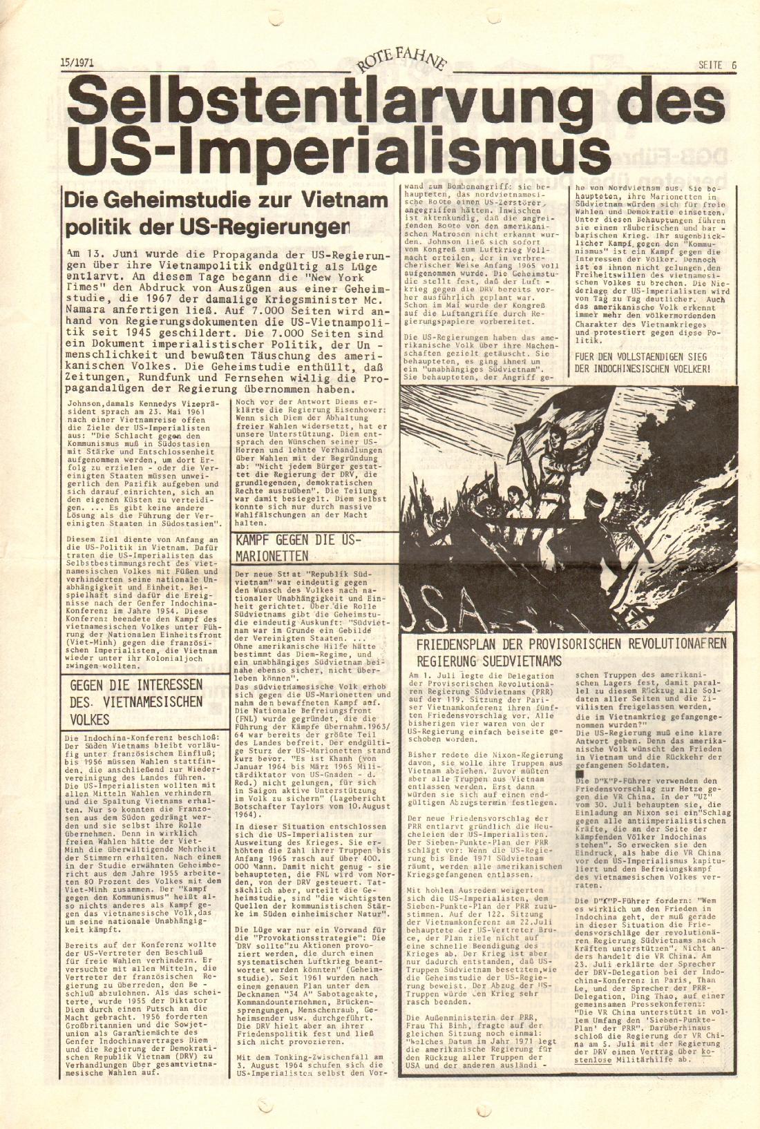 Rote Fahne, 2. Jg., 2.8.1971, Nr. 15, Seite 6