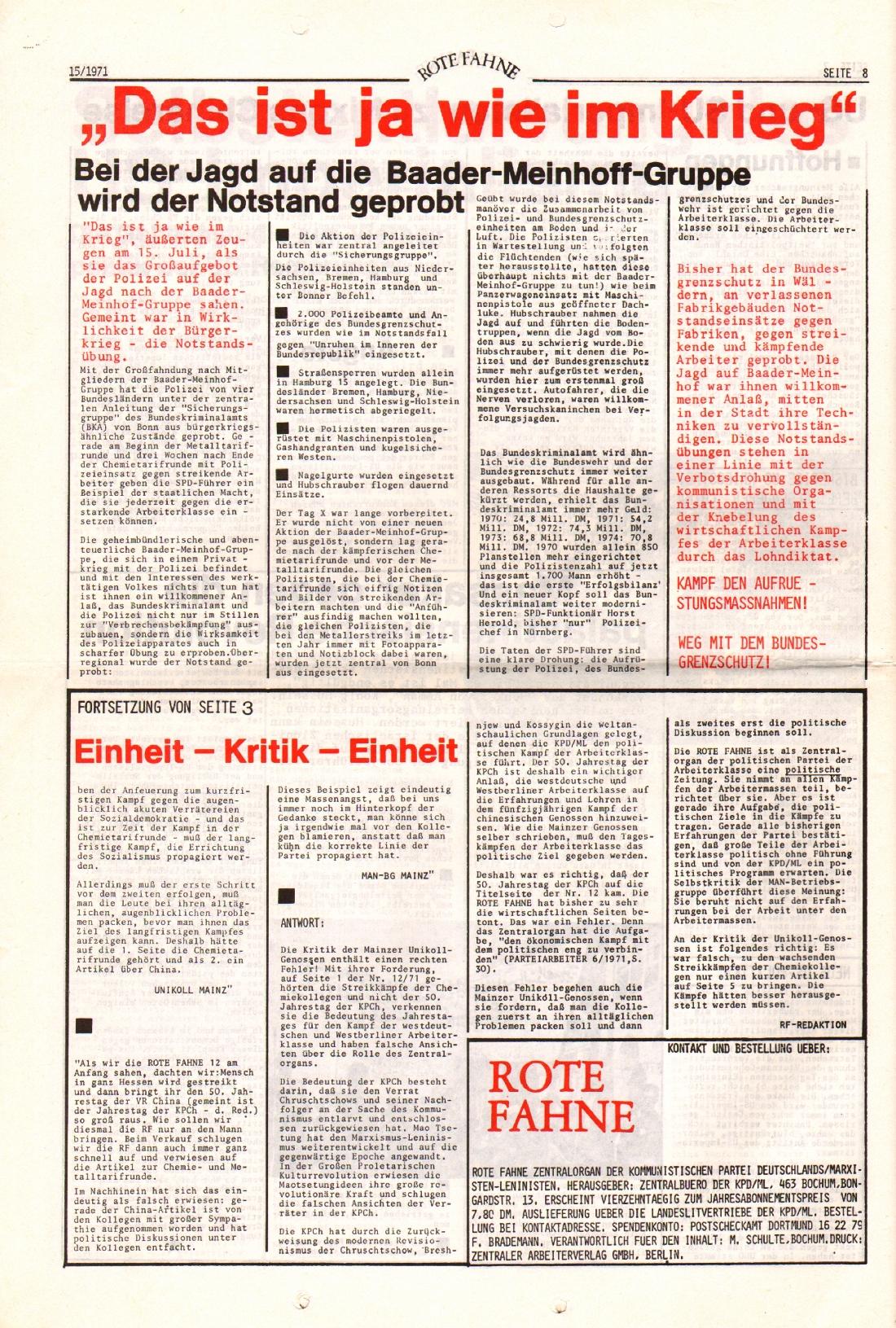 Rote Fahne, 2. Jg., 2.8.1971, Nr. 15, Seite 8