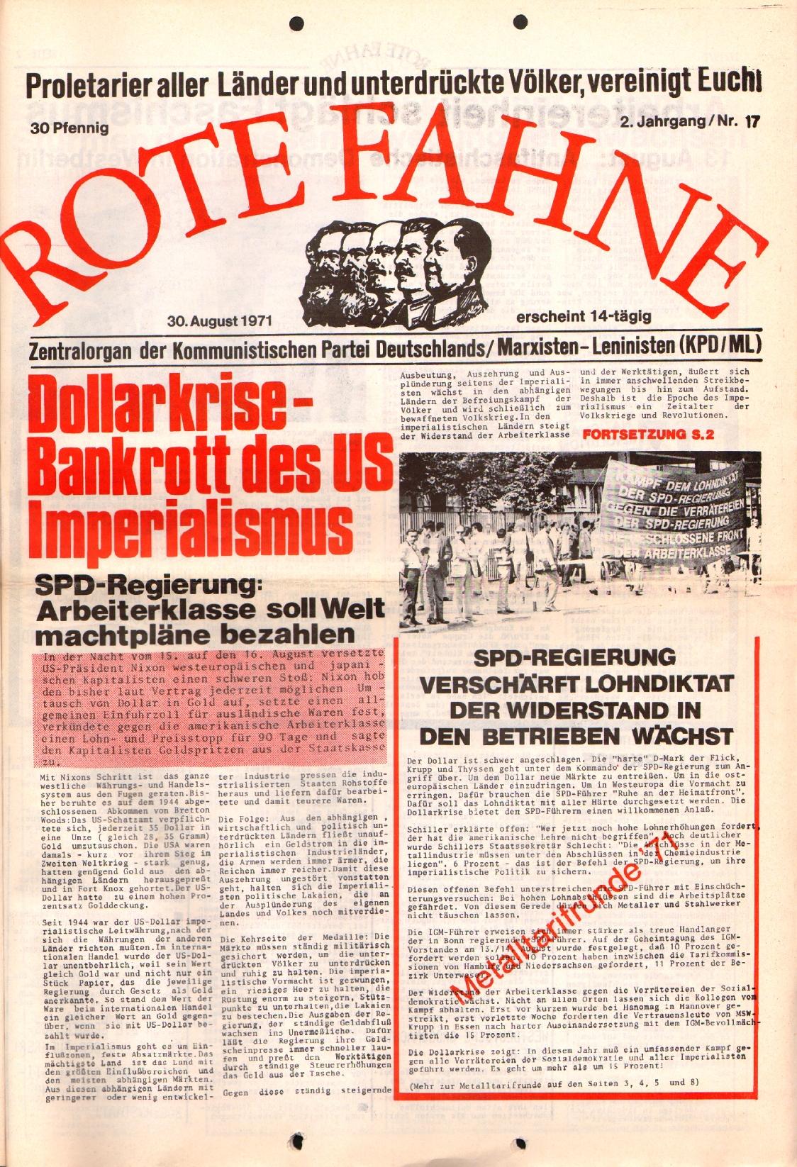 Rote Fahne, 2. Jg., 30.8.1971, Nr. 17, Seite 1