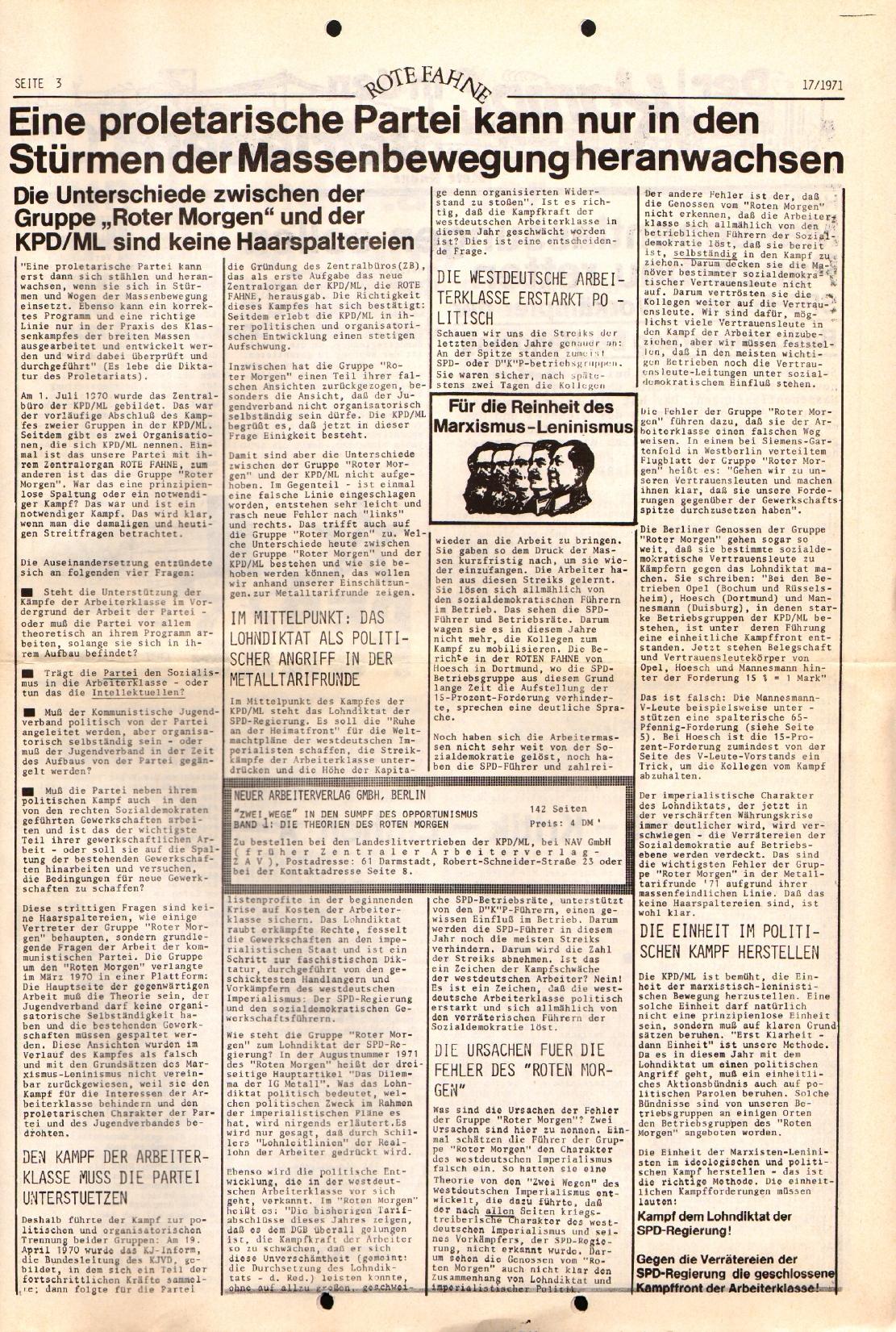 Rote Fahne, 2. Jg., 30.8.1971, Nr. 17, Seite 3