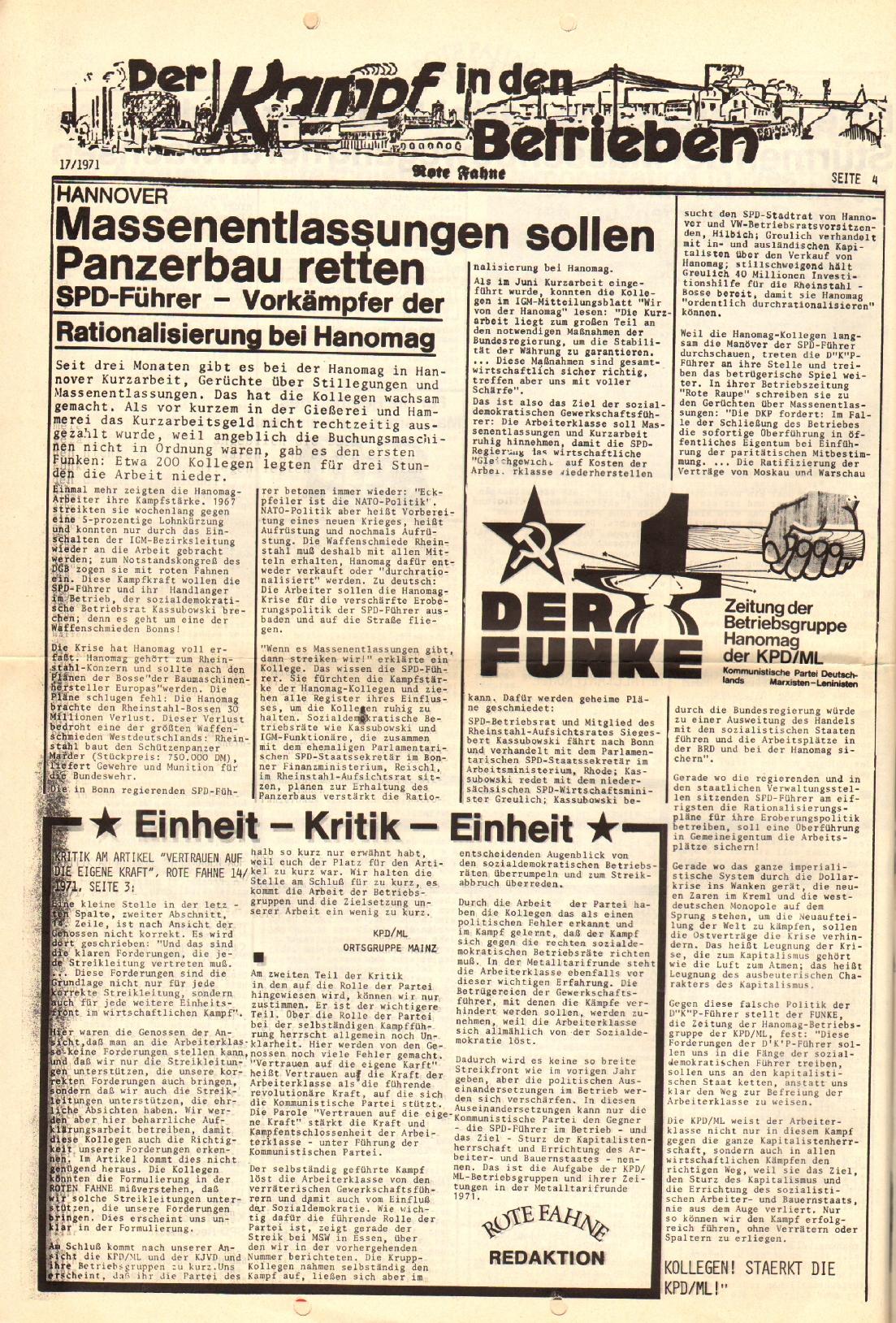 Rote Fahne, 2. Jg., 30.8.1971, Nr. 17, Seite 4
