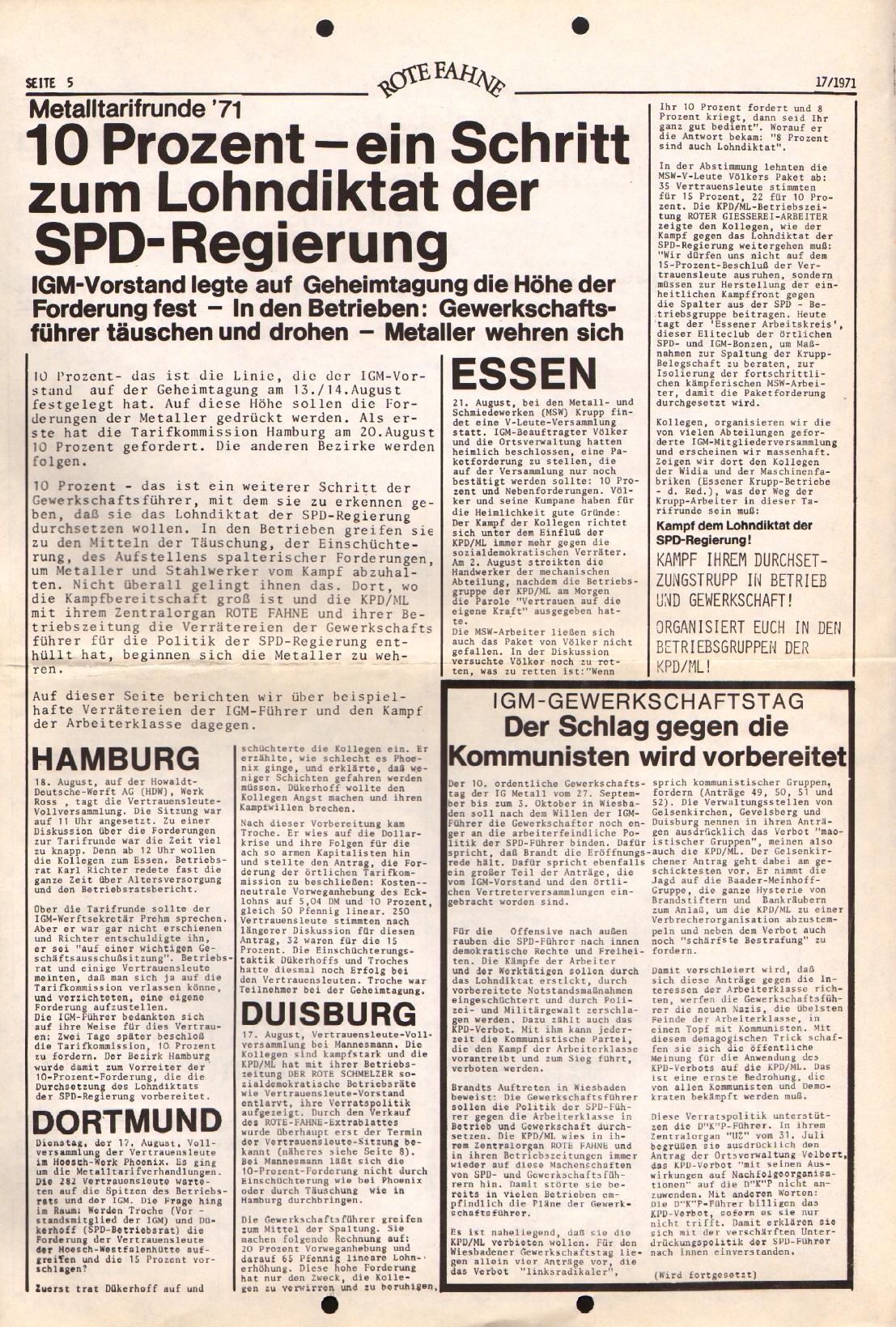 Rote Fahne, 2. Jg., 30.8.1971, Nr. 17, Seite 5