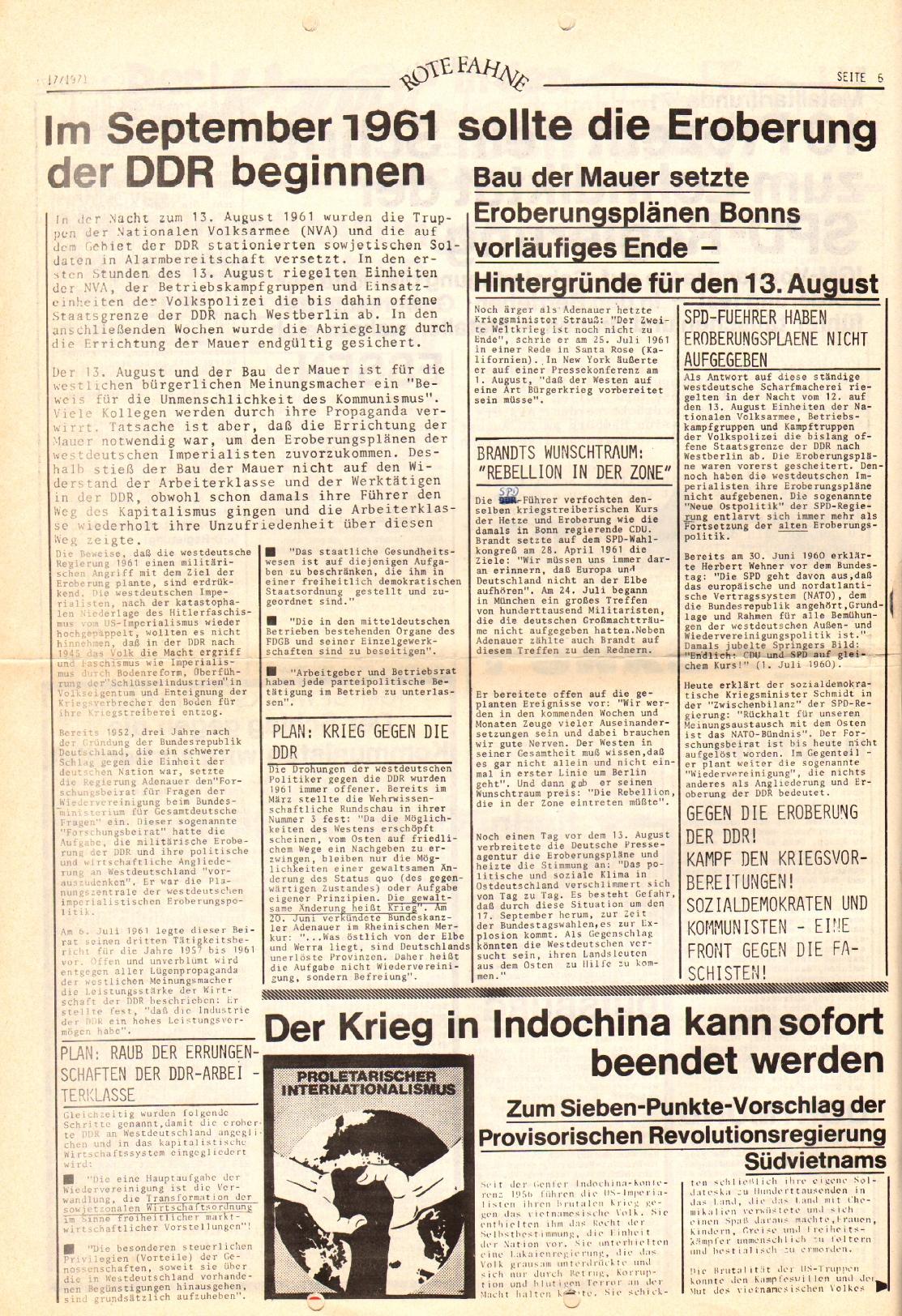 Rote Fahne, 2. Jg., 30.8.1971, Nr. 17, Seite 6