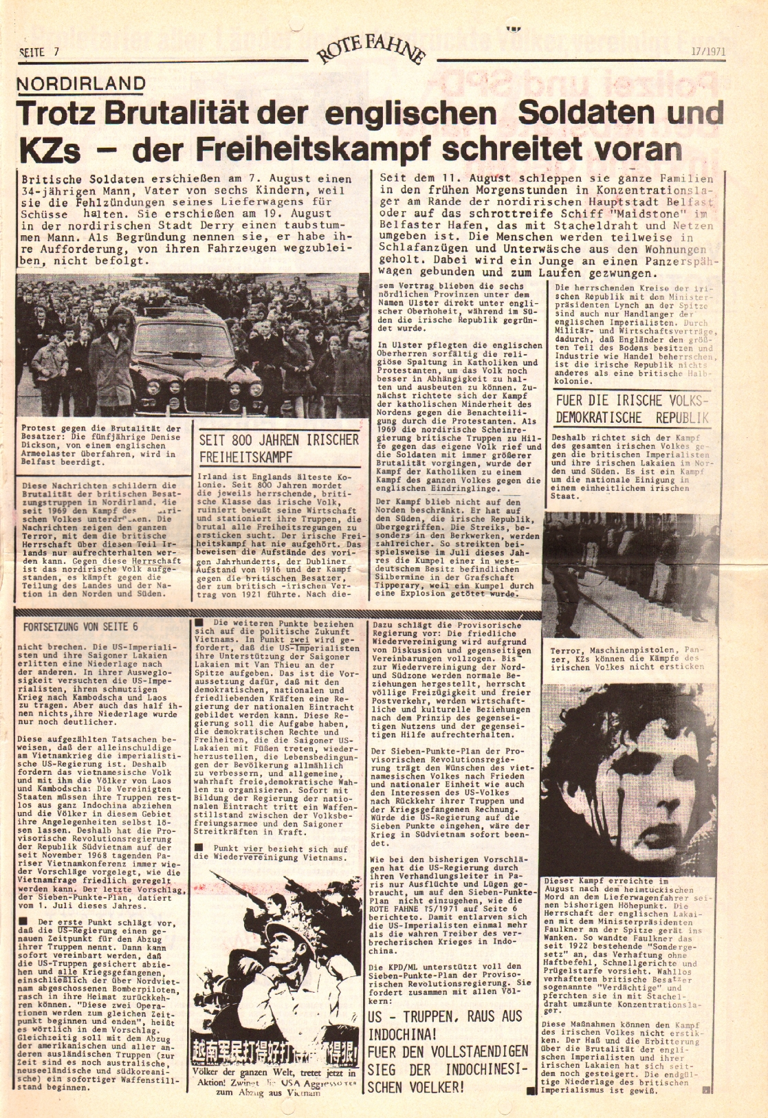 Rote Fahne, 2. Jg., 30.8.1971, Nr. 17, Seite 7