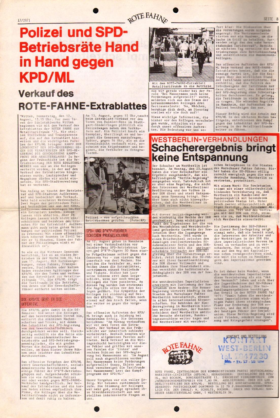Rote Fahne, 2. Jg., 30.8.1971, Nr. 17, Seite 8
