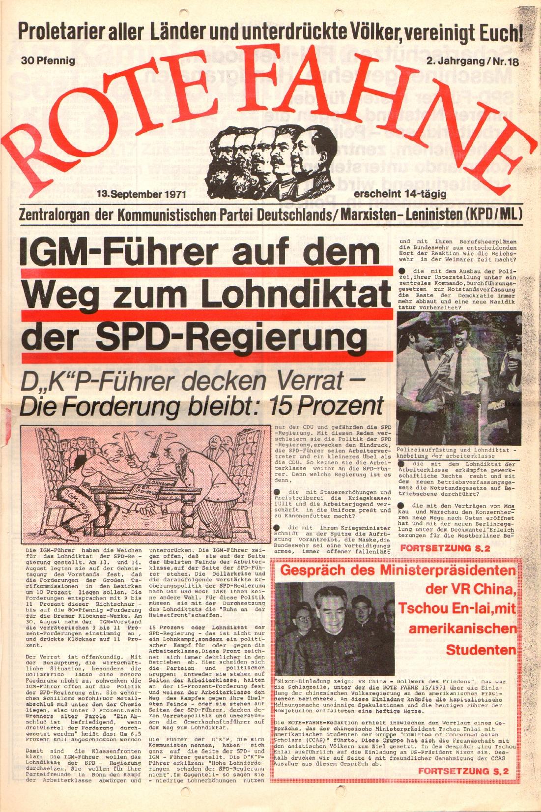 Rote Fahne, 2. Jg., 13.9.1971, Nr. 18, Seite 1