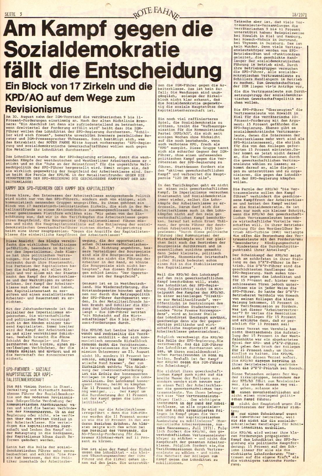 Rote Fahne, 2. Jg., 13.9.1971, Nr. 18, Seite 3