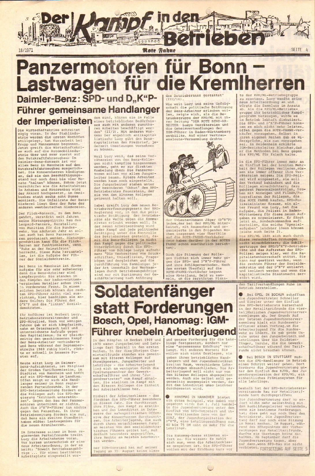 Rote Fahne, 2. Jg., 13.9.1971, Nr. 18, Seite 4