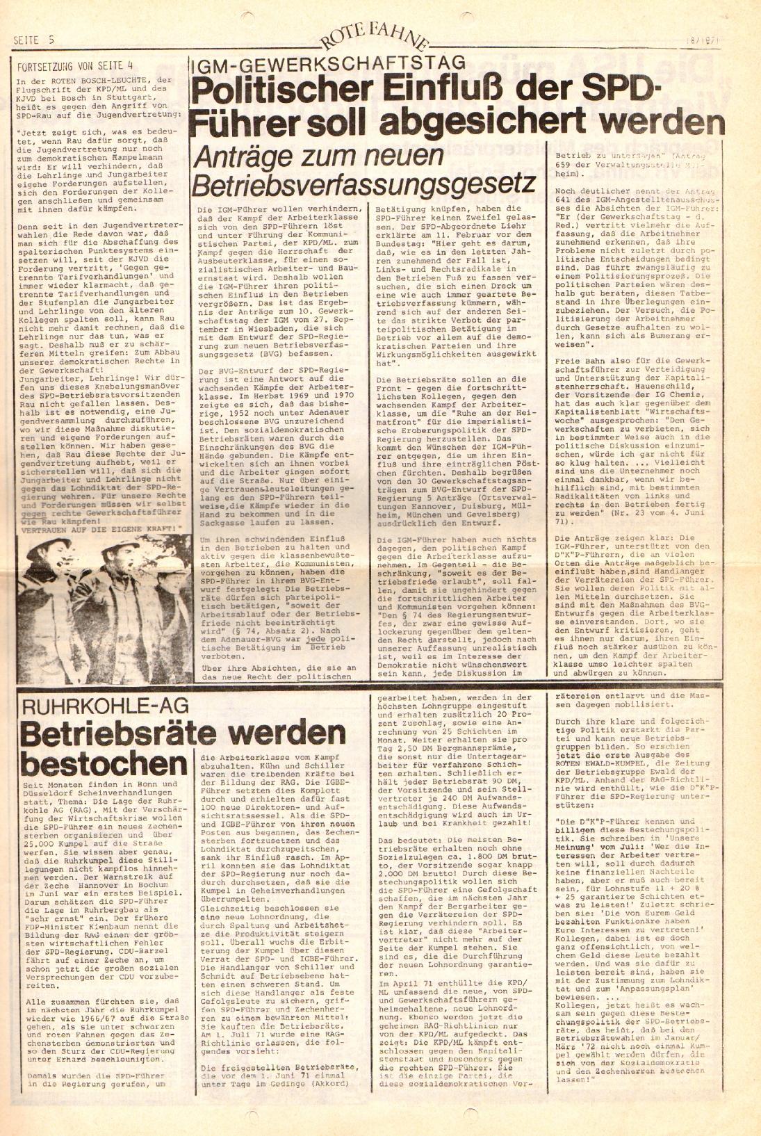 Rote Fahne, 2. Jg., 13.9.1971, Nr. 18, Seite 5