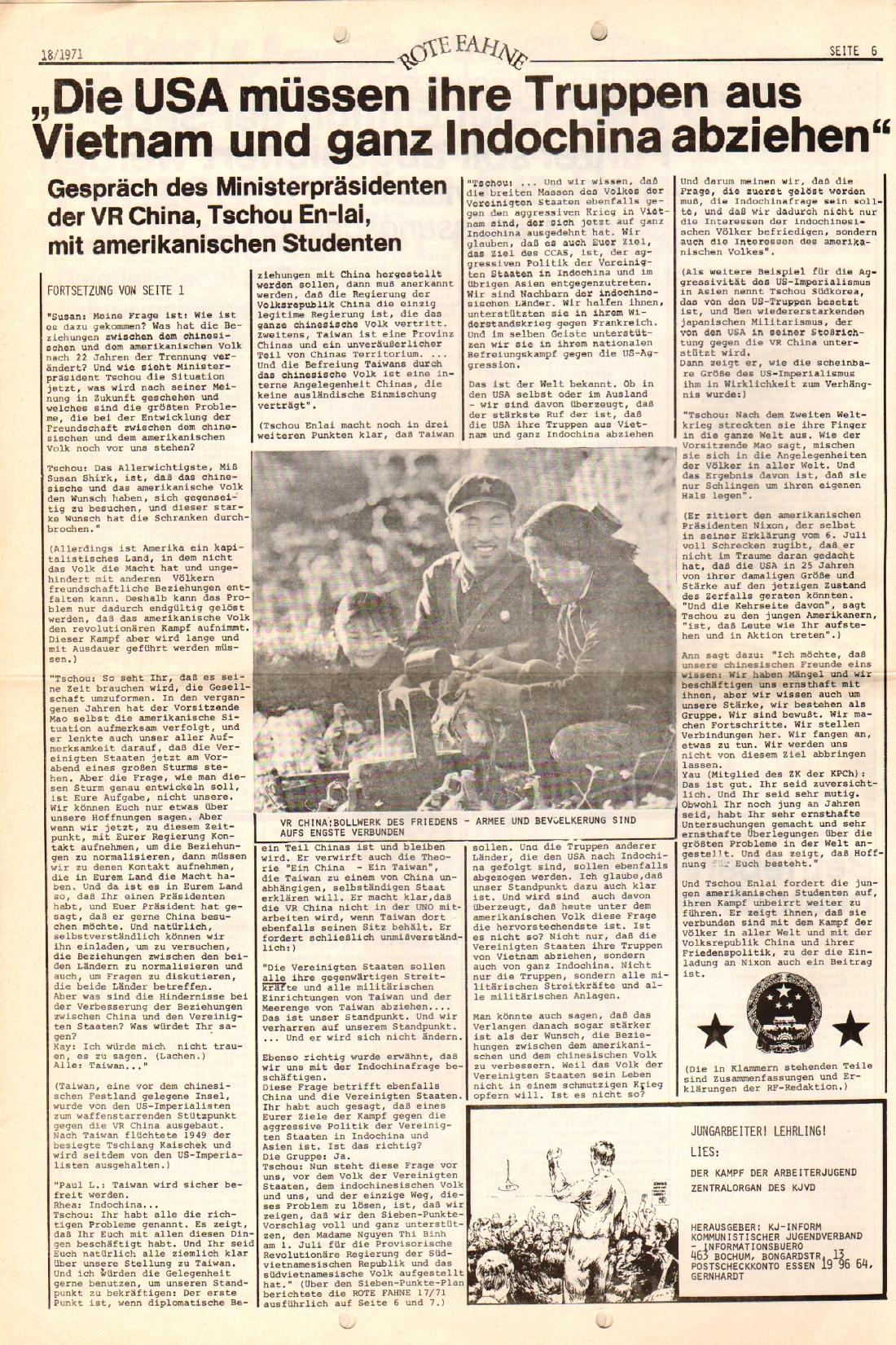 Rote Fahne, 2. Jg., 13.9.1971, Nr. 18, Seite 6