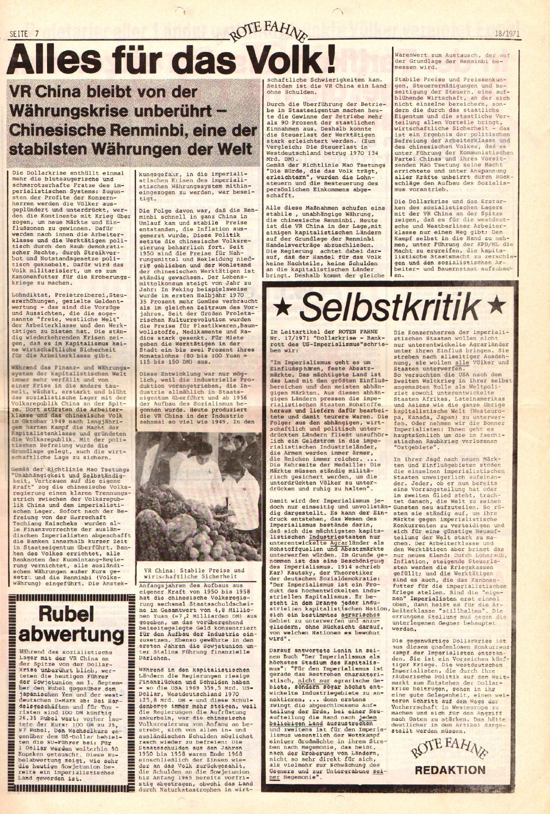 Rote Fahne, 2. Jg., 13.9.1971, Nr. 18, Seite 7