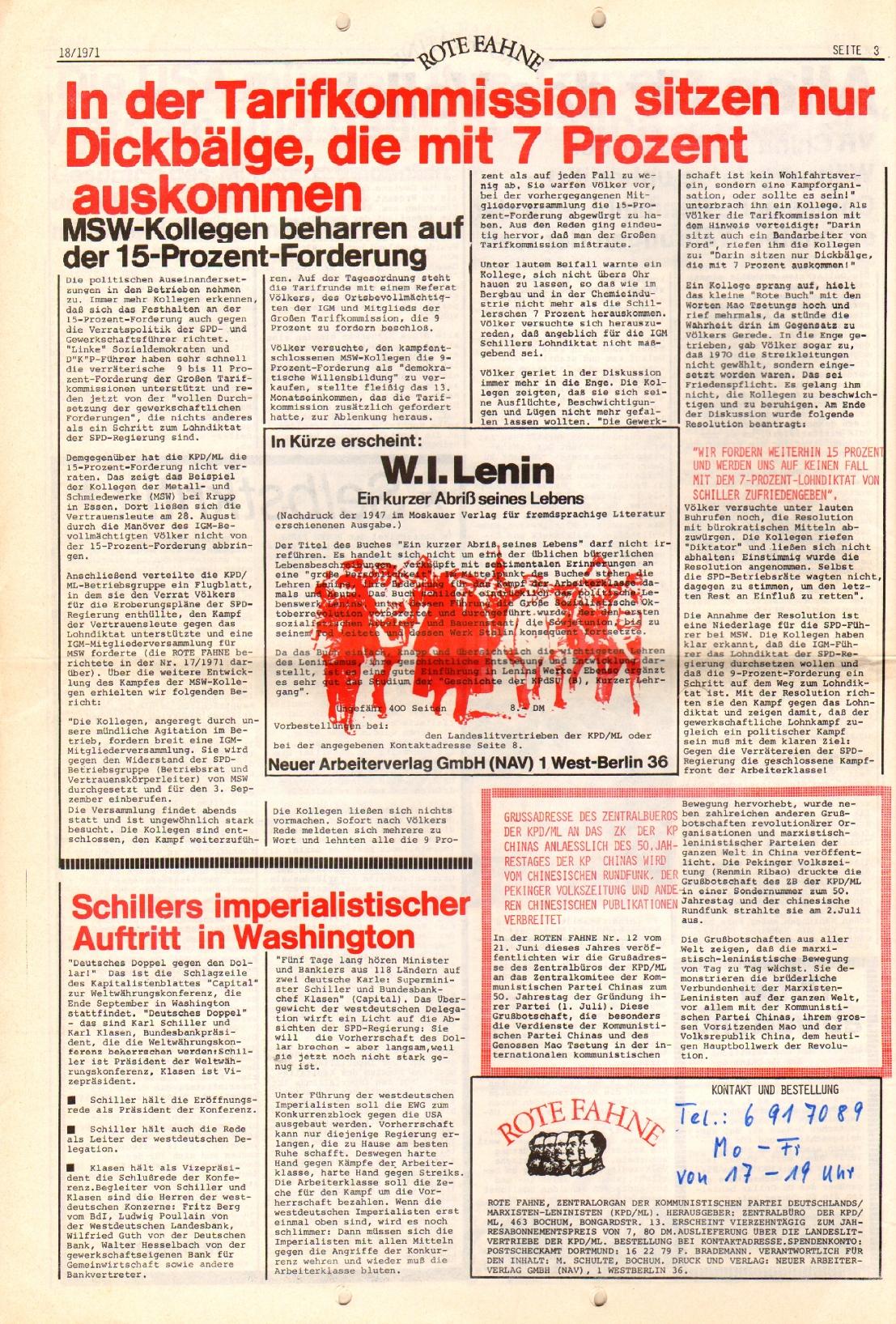 Rote Fahne, 2. Jg., 13.9.1971, Nr. 18, Seite 8