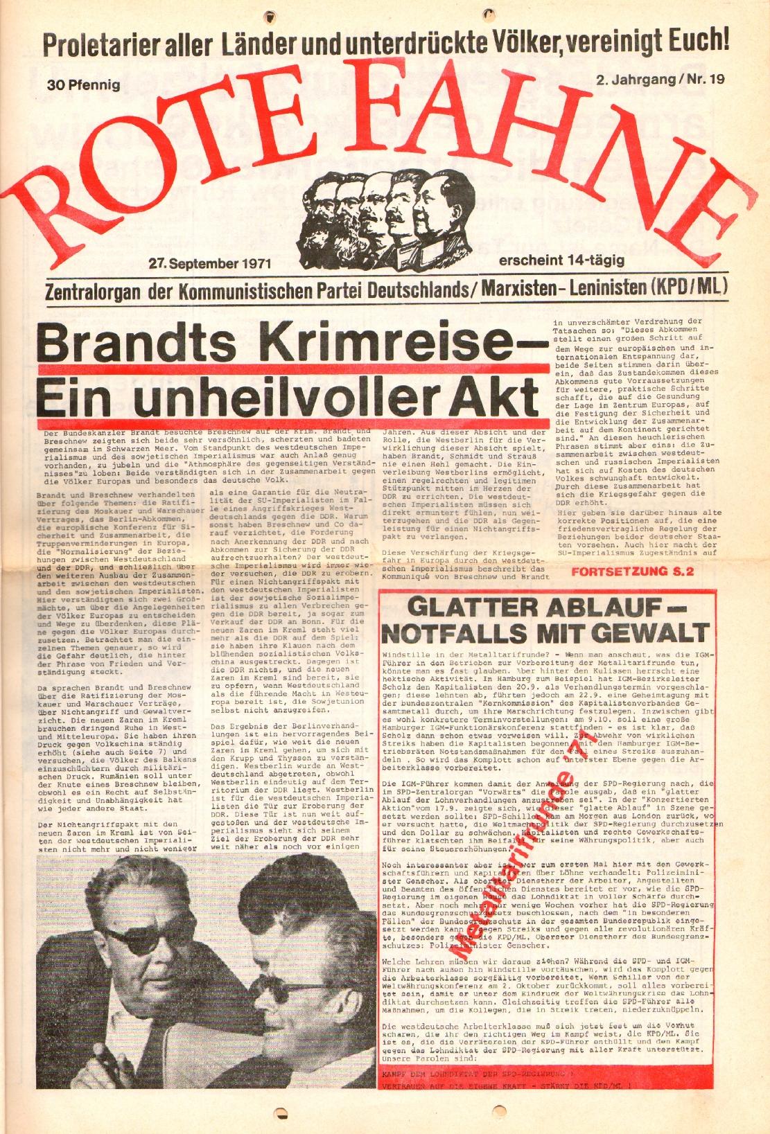 Rote Fahne, 2. Jg., 27.9.1971, Nr. 19, Seite 1