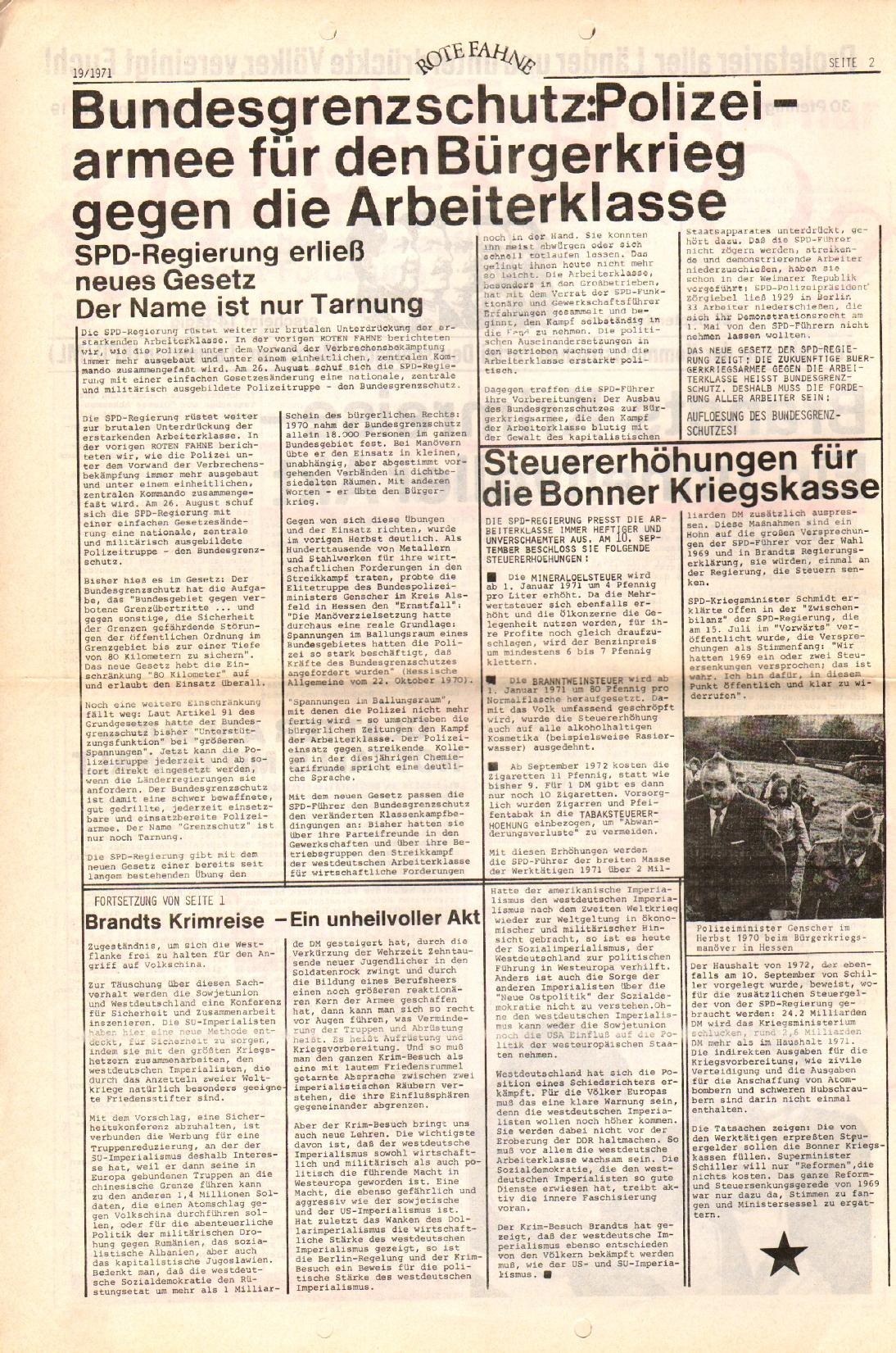 Rote Fahne, 2. Jg., 27.9.1971, Nr. 19, Seite 2